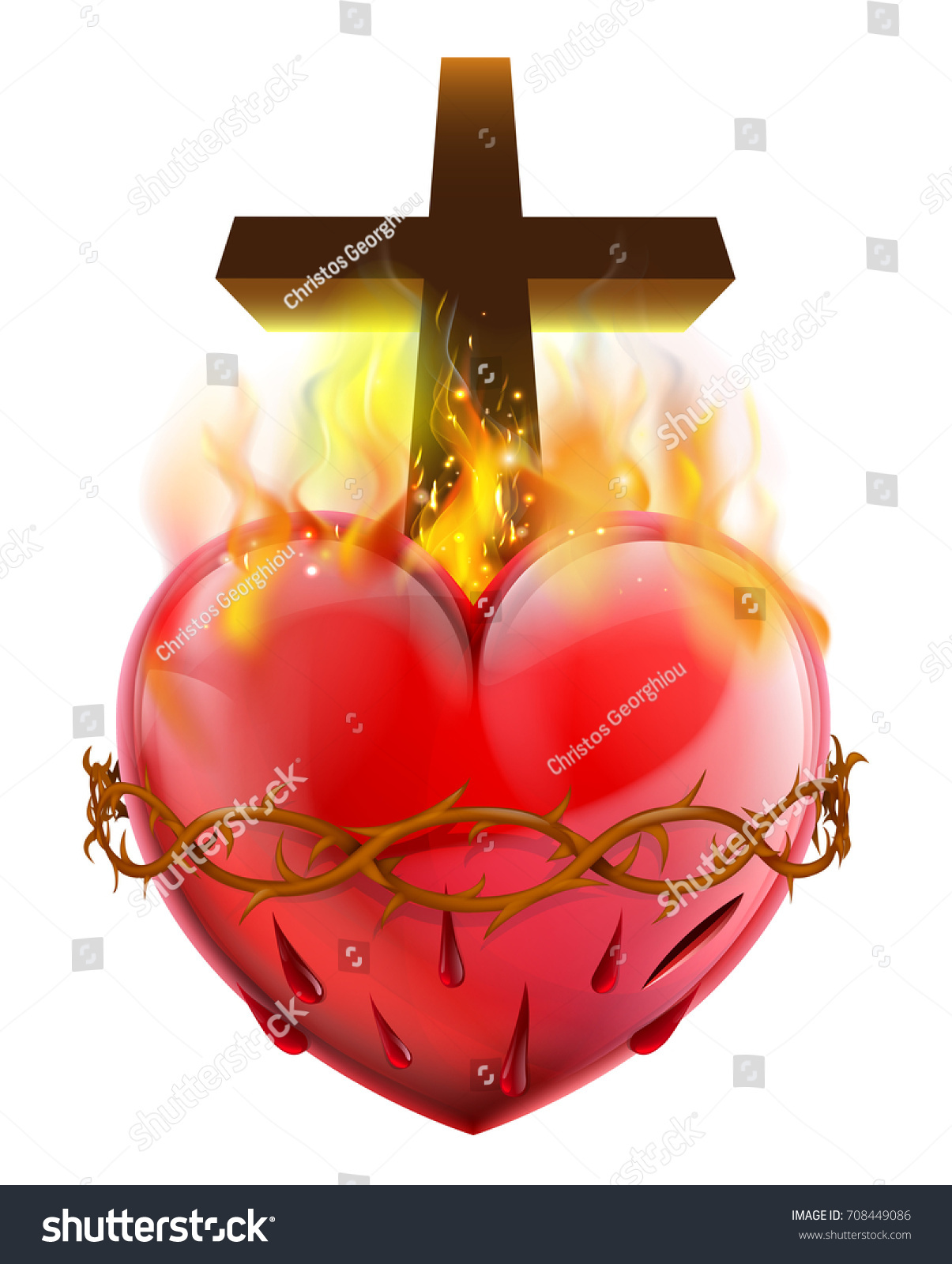 Christian sacred heart symbol representing jesus stock vector christian sacred heart symbol representing jesus christs divine love for humanity dhlflorist Choice Image