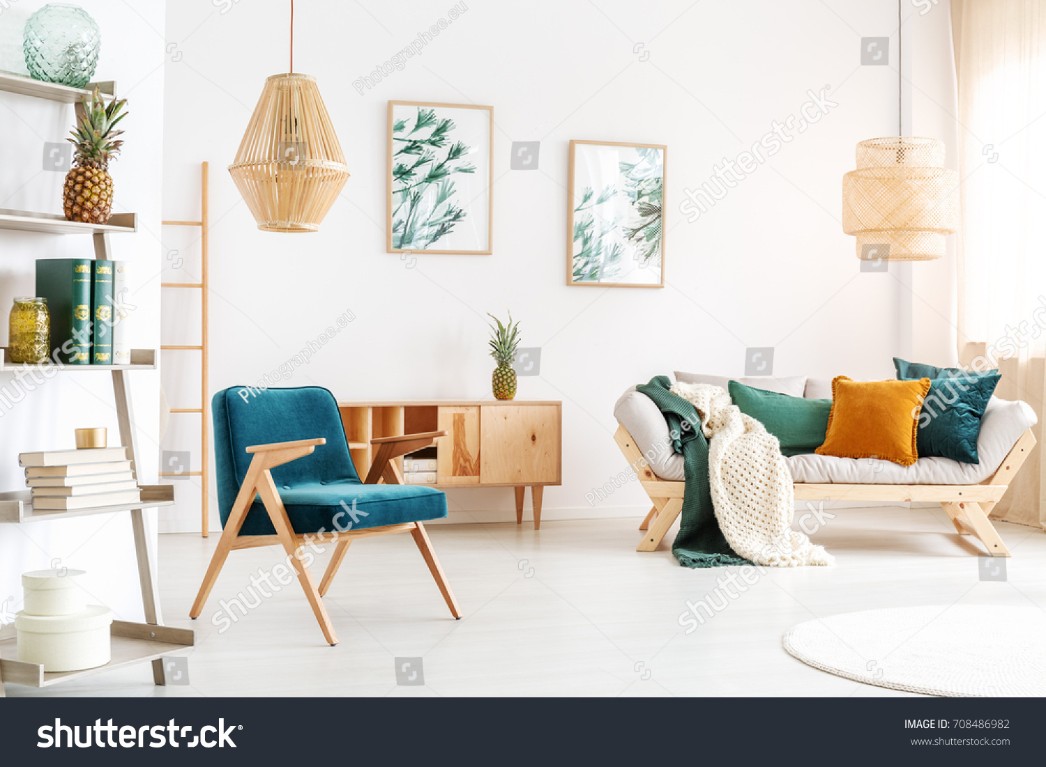 Handmade Lamp Above Blue Vintage Chair Stock Photo (Royalty Free ...