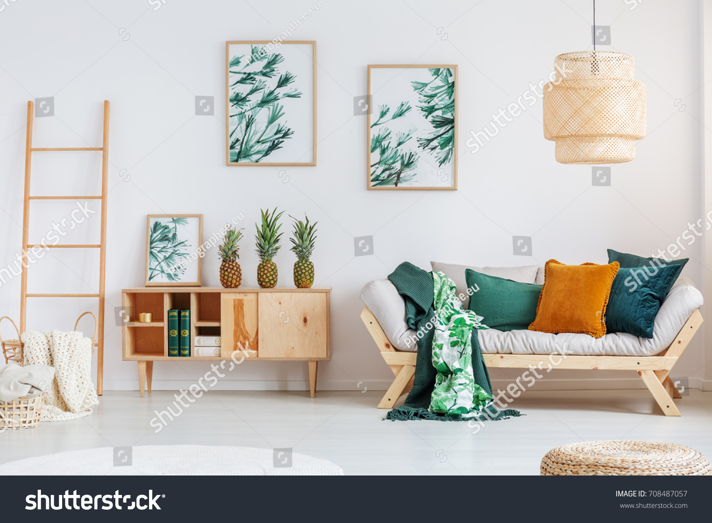 Pineapples On Rustic Cupboard Between Ladder Stock Photo (Royalty ...