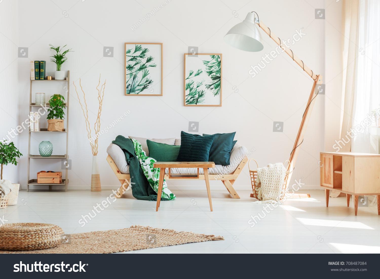 Dark Green Pillow On Beige Sofa Stock Photo (Safe to Use) 708487084 ...
