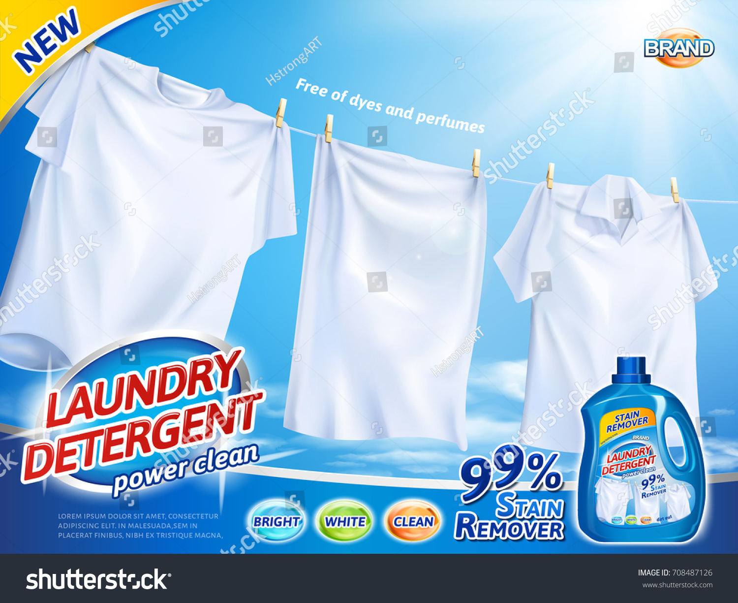 laundry detergent ads bright white clothes stock vector 708487126 shutterstock. Black Bedroom Furniture Sets. Home Design Ideas