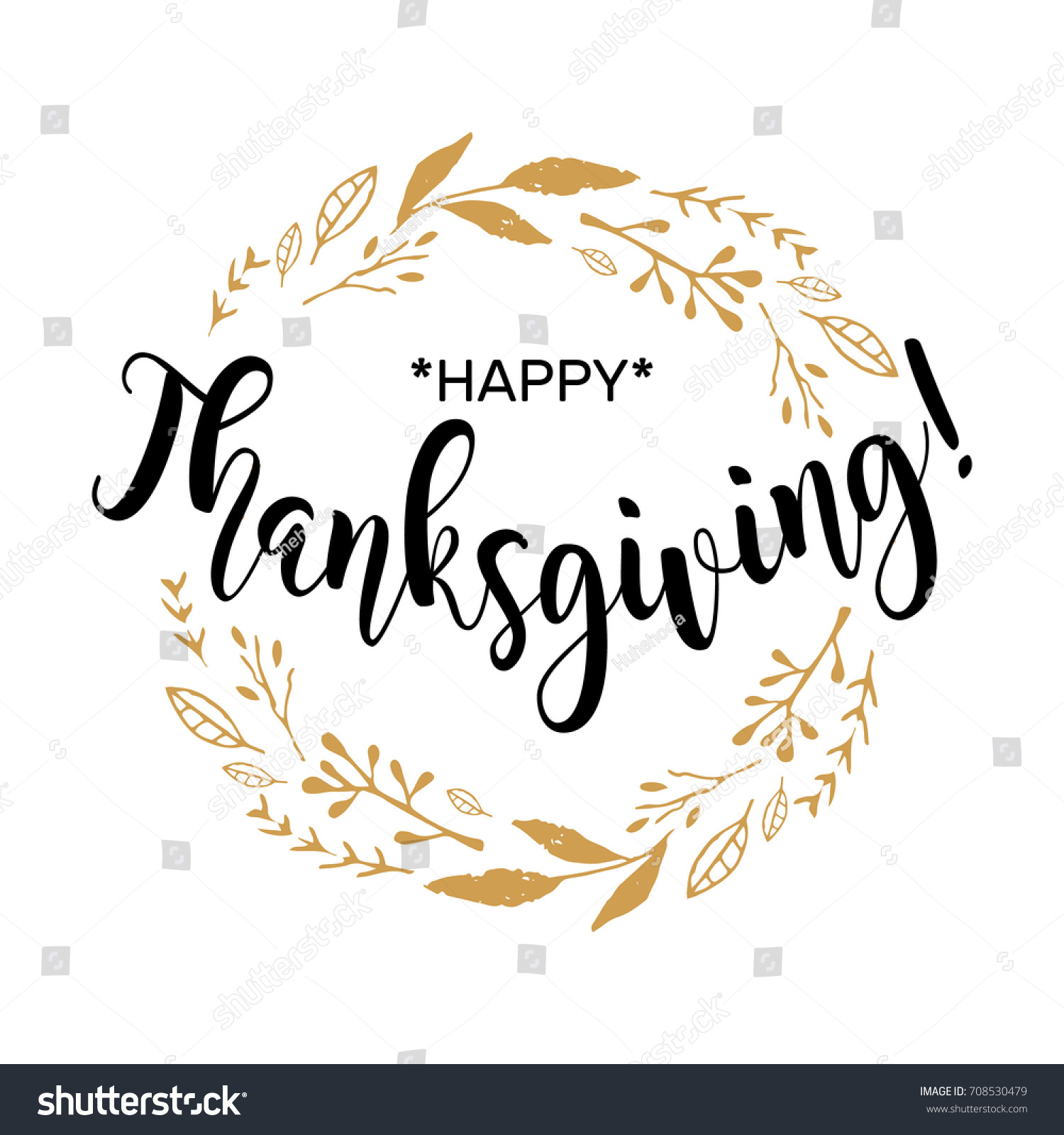Happy thanksgiving beautiful greeting card calligraphy