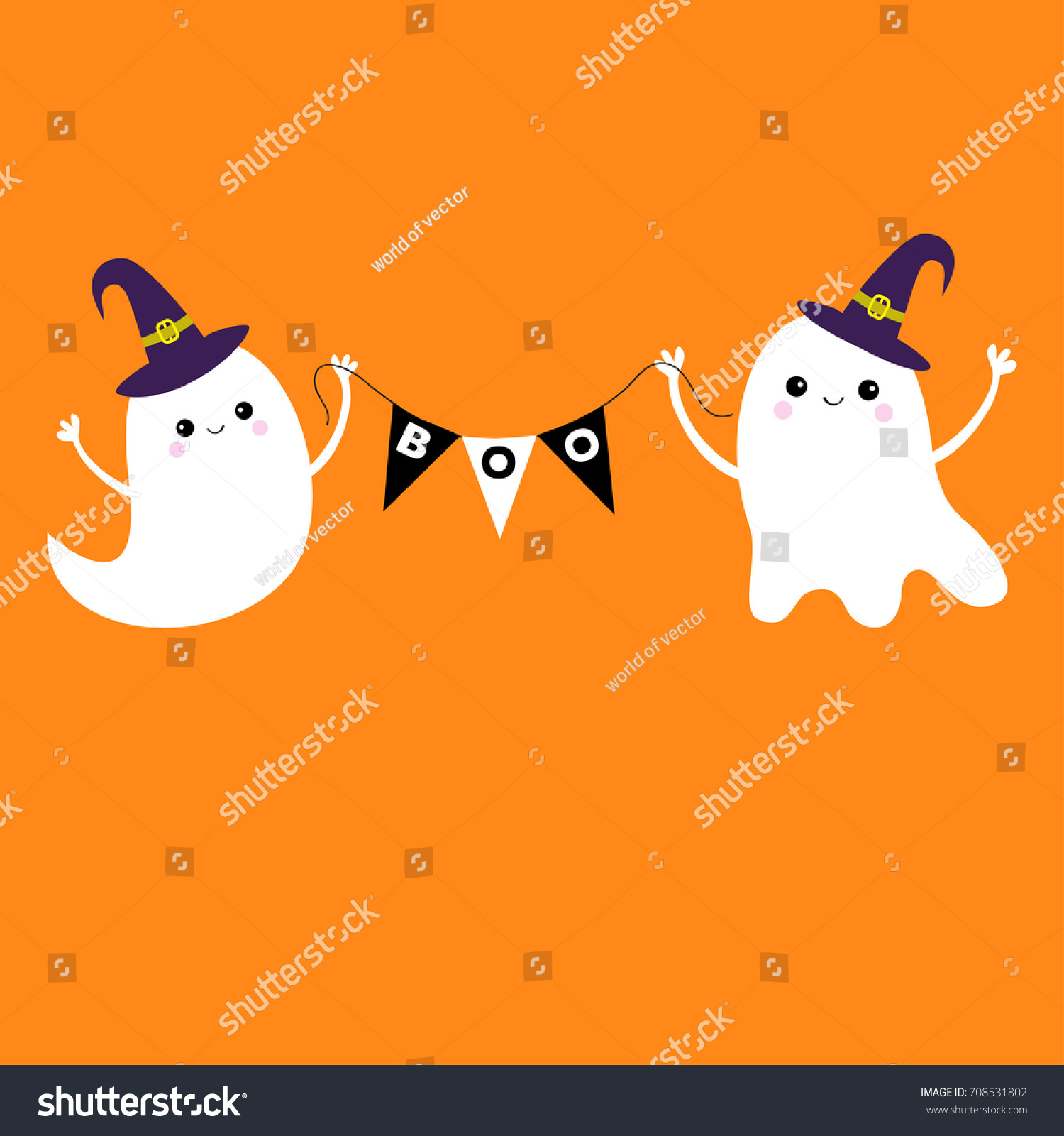 Vector bunting flags lovely celebration card with colorful paper - Flying Ghost Spirit Holding Bunting Flag Boo Witch Hat Two Scary White Ghosts