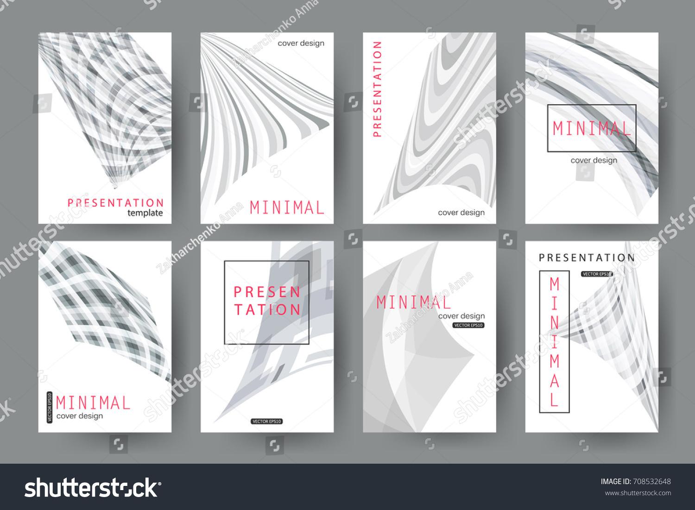 set presentation templates minimal cover designs stock vector