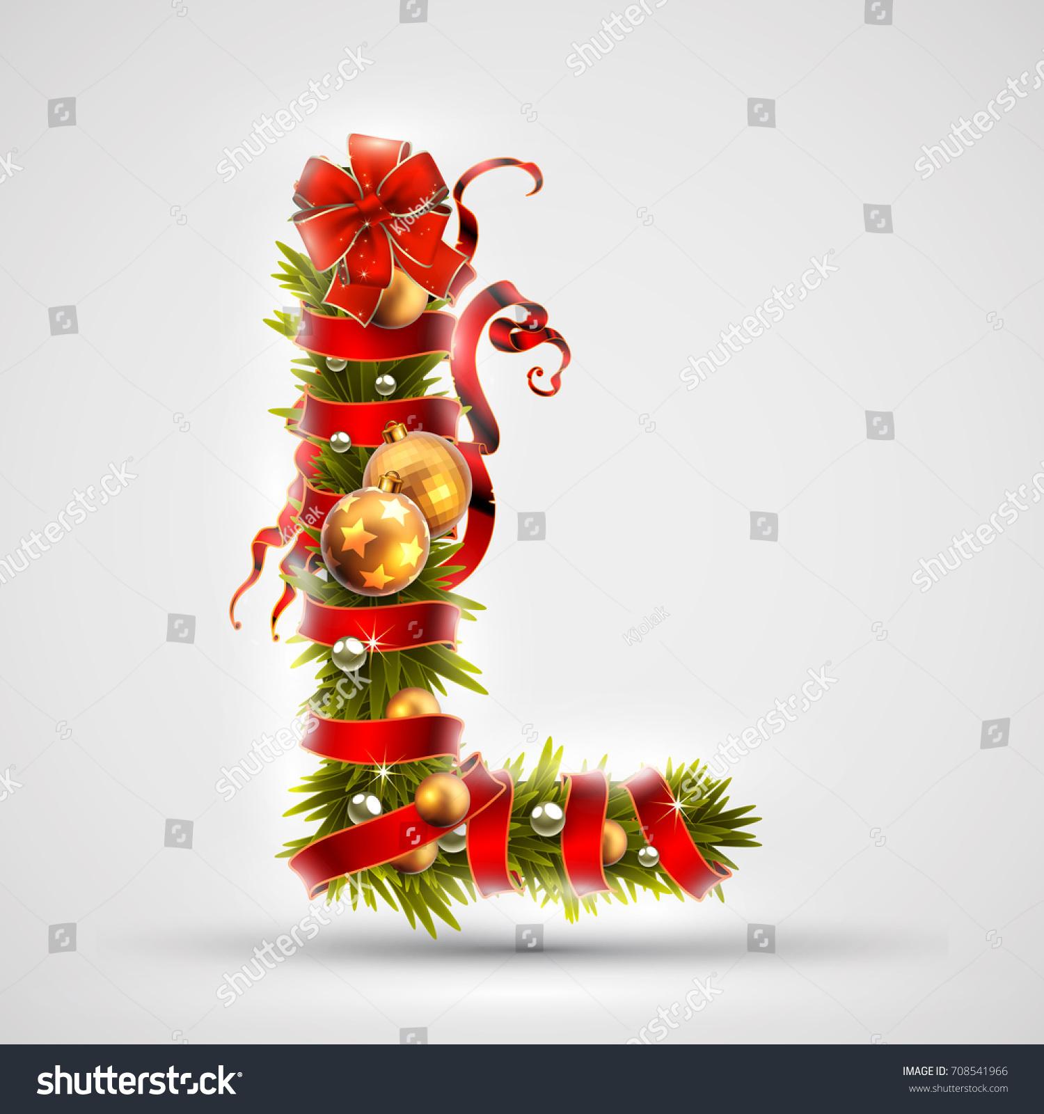 christmas font letter l christmas tree stock vector 708541966