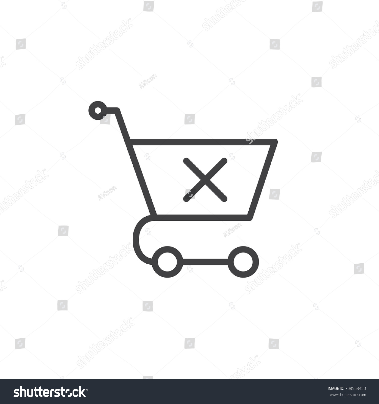 Shopping cart x mark line icon stock vector 708553450 shutterstock shopping cart with x mark line icon outline vector sign linear style pictogram isolated buycottarizona