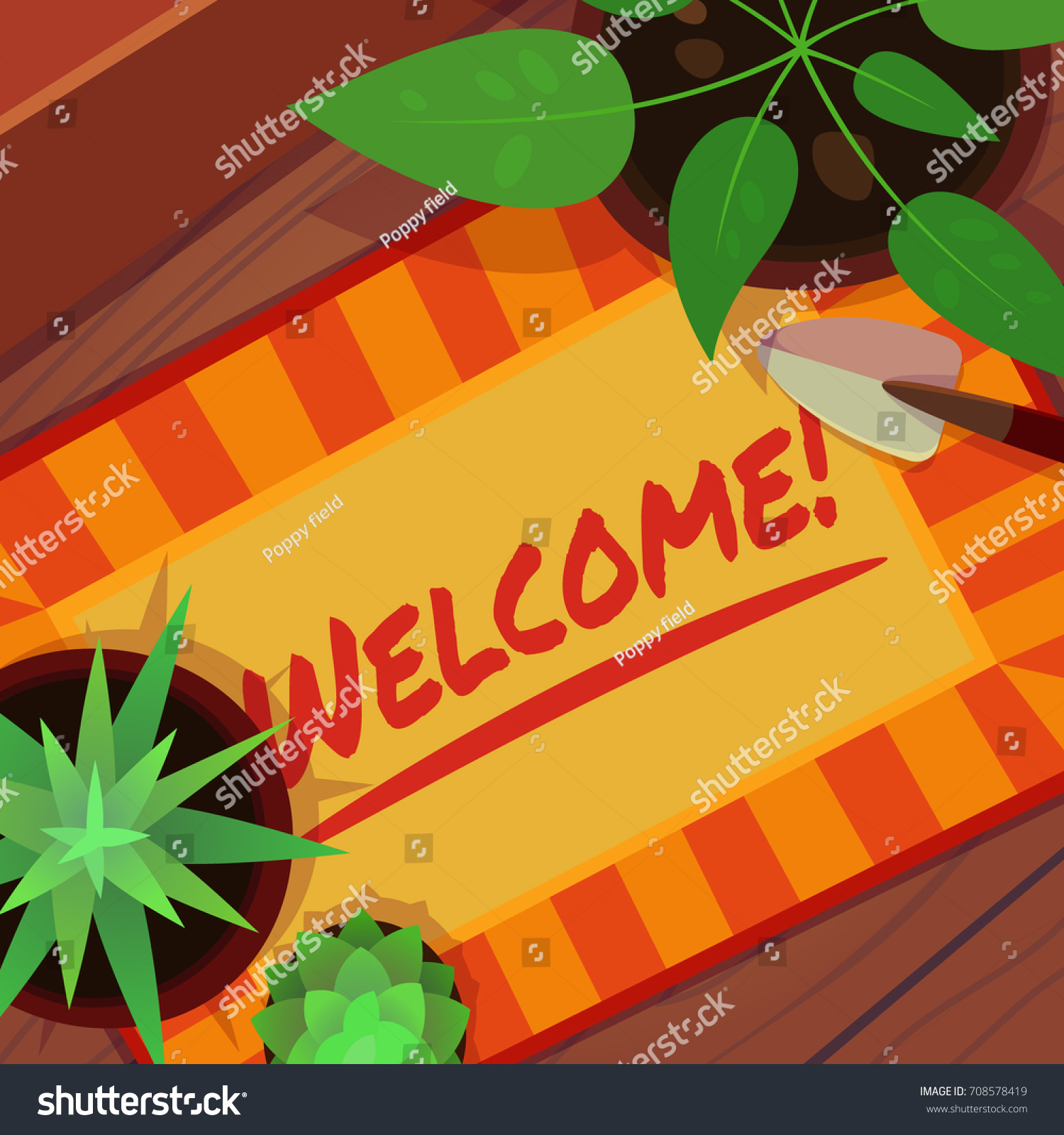 Cartoon style vector brown rug plants stock vector 708578419 cartoon style vector brown rug with plants on wooden floor home house door kristyandbryce Images