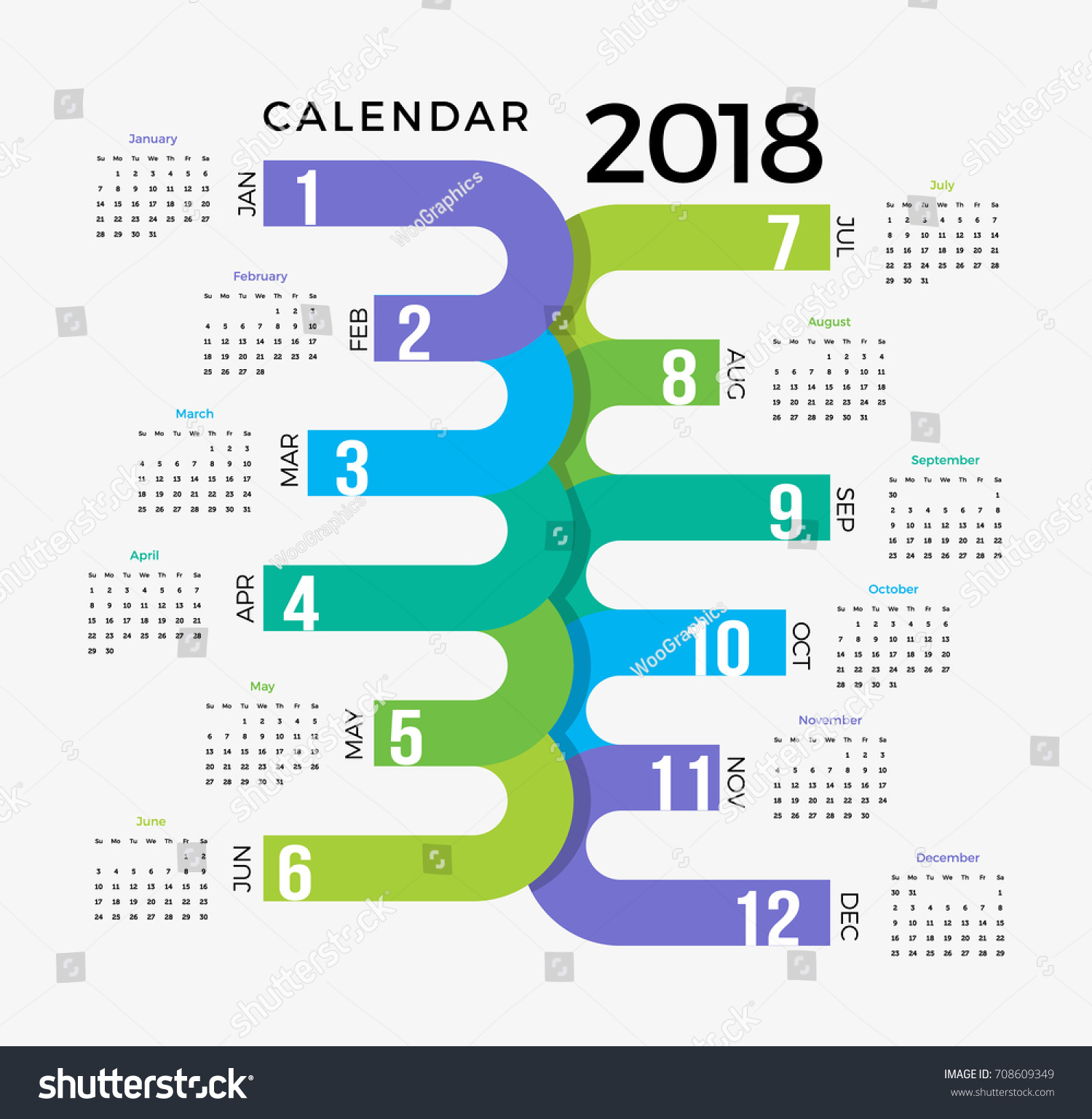 Creative Calendar Template : Calendar template colorful creative happy stock