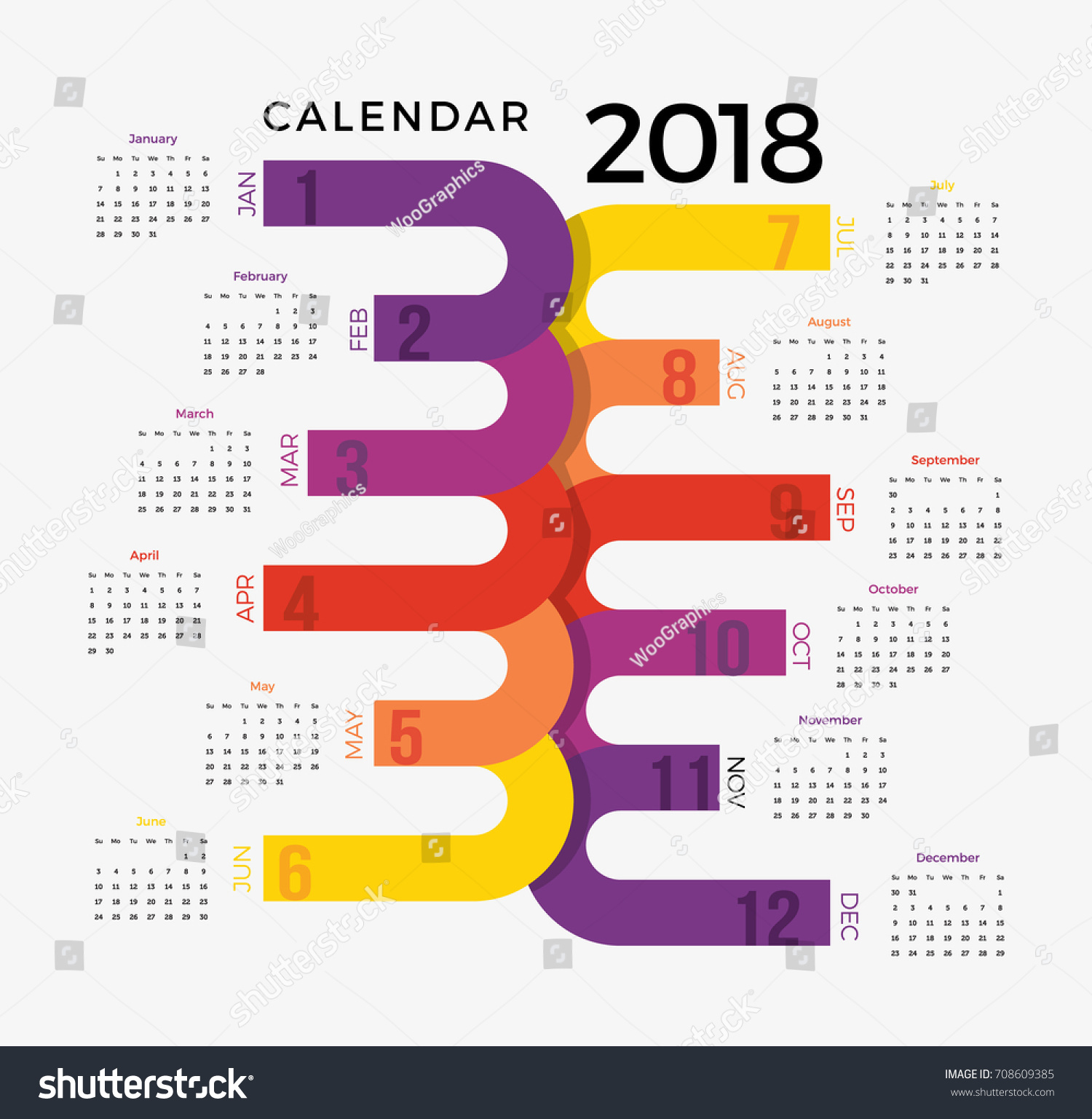 Yearly Calendar Design : Calendar template colorful illustrative happy stock