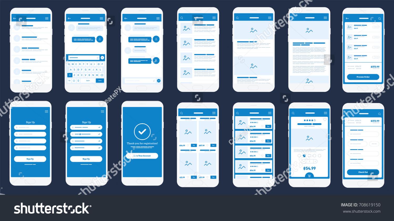 Mobile App Wire Frame UI Kit Stock Vector 708619150 - Shutterstock
