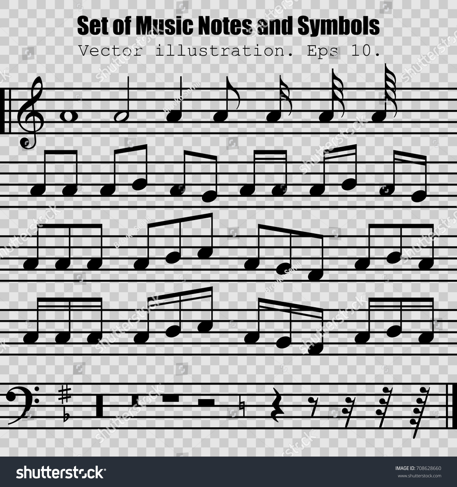 Set Of Many Various Black Notes And Symbols Collection Musical