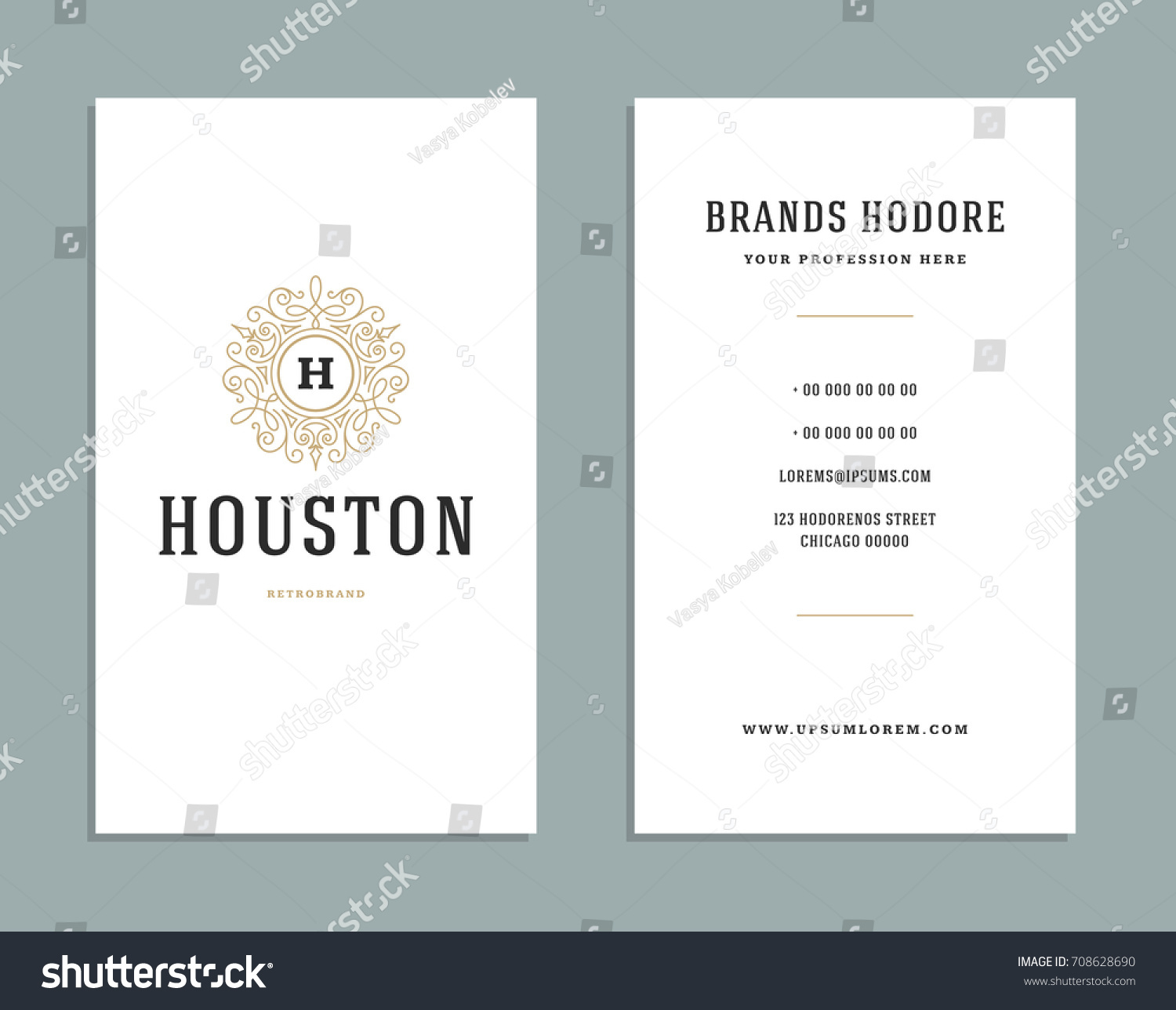 business card vintage ornament style luxury stock vector