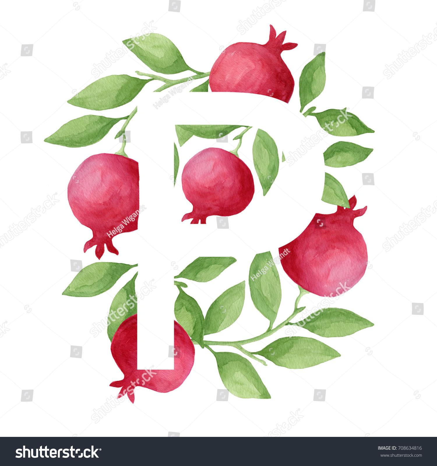 Letter P Made Bright Red Pomegranate Stock Illustration