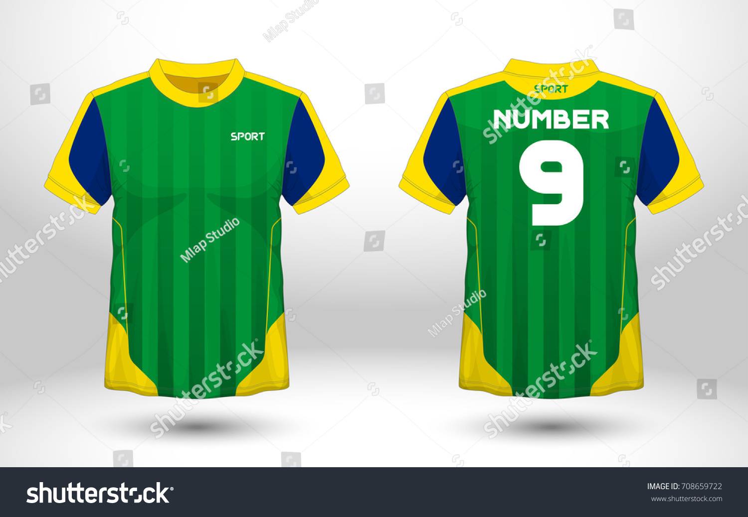 Green Yellow Layout Football Sport Tshirt Stock Vector Royalty Free