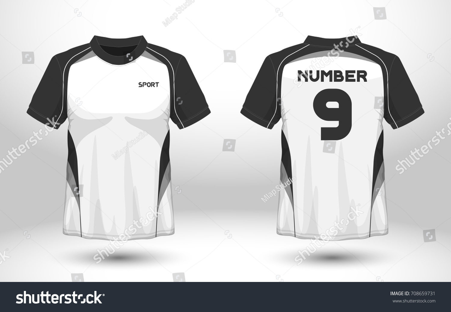 Black White Layout Football Sport Tshirt Stock Vector Royalty Free