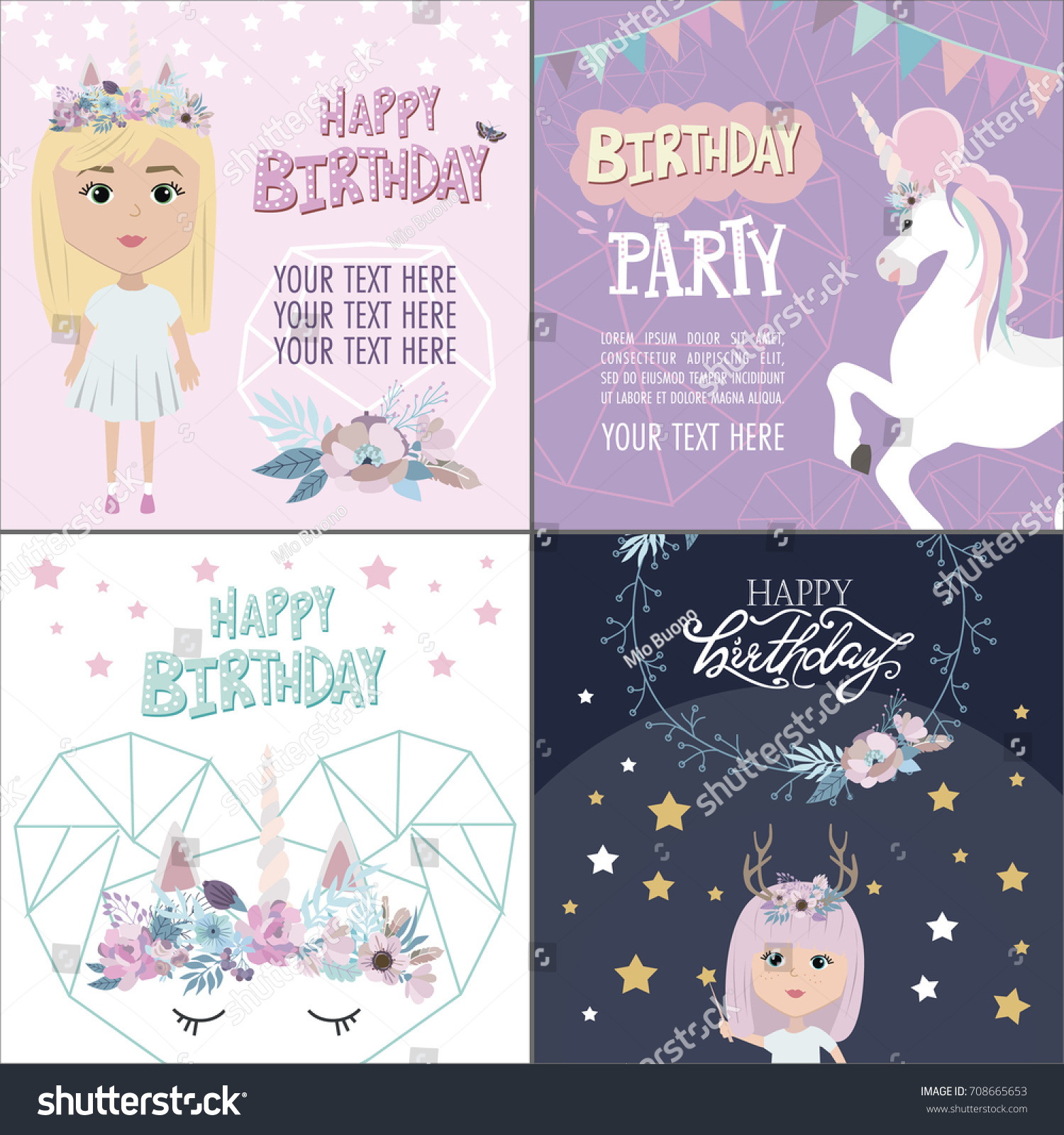 Magic Happy Birthday Greeting Cards Unicorn Stock Vector Royalty