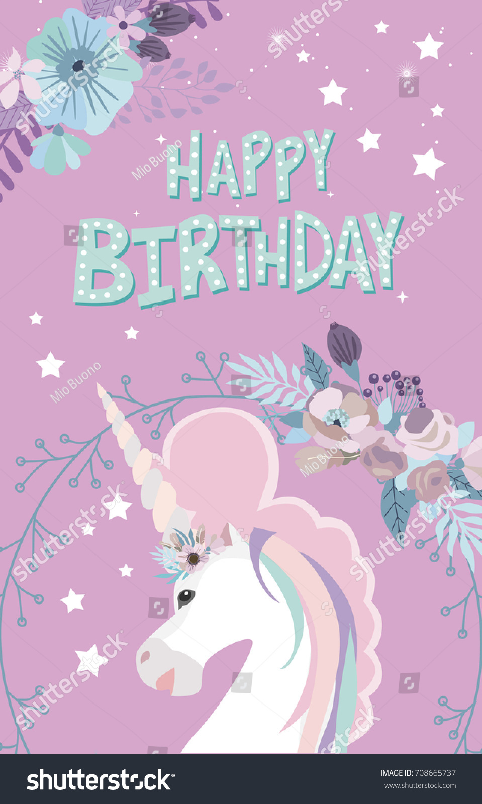 Magic Happy Birthday Greeting Cards Unicorn Stock Vector Royalty