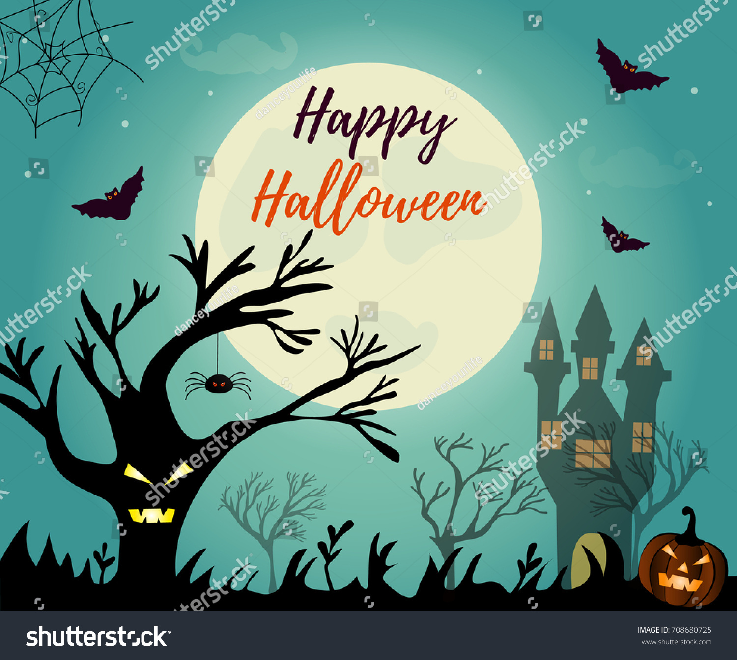 Halloween background with creepy house, scary tree and pumpkin ...