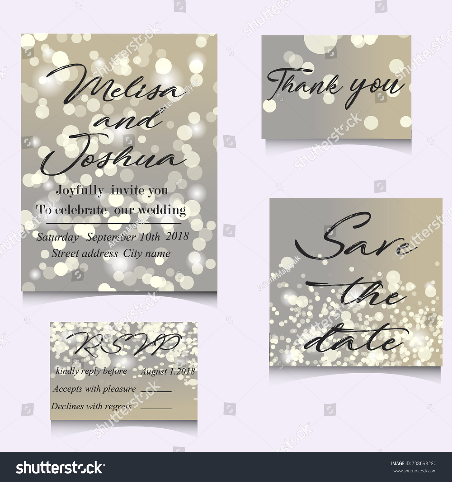 Wedding Invitation Cards Template Set Soft Stock Vector 708693280 ...