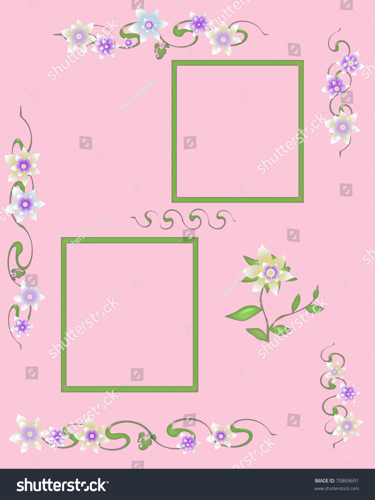 Scrapbook Frame Flower Garland Cutouts Illustration Stock ...