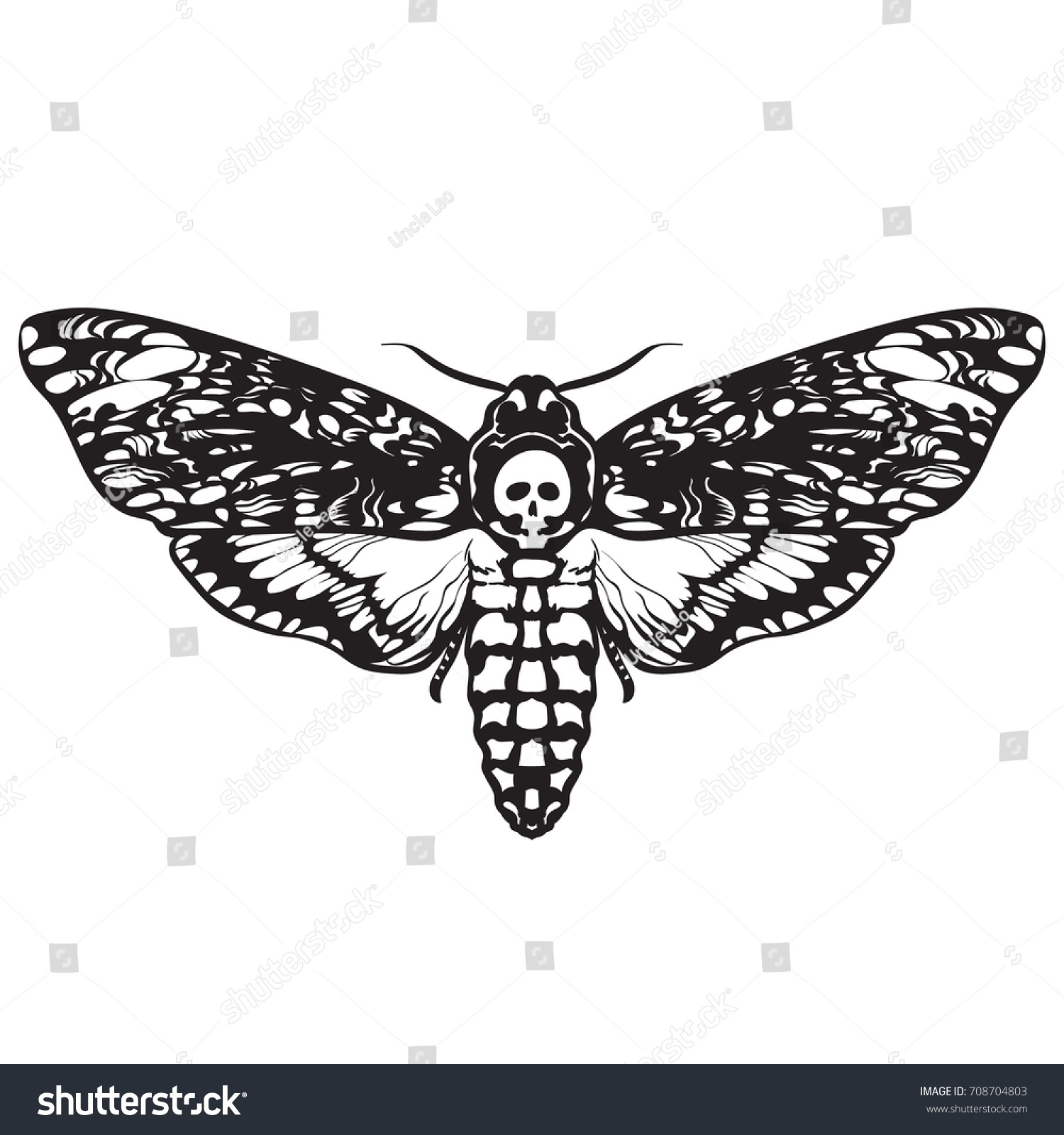 deathshead hawk moth black white halloween stock vector (royalty