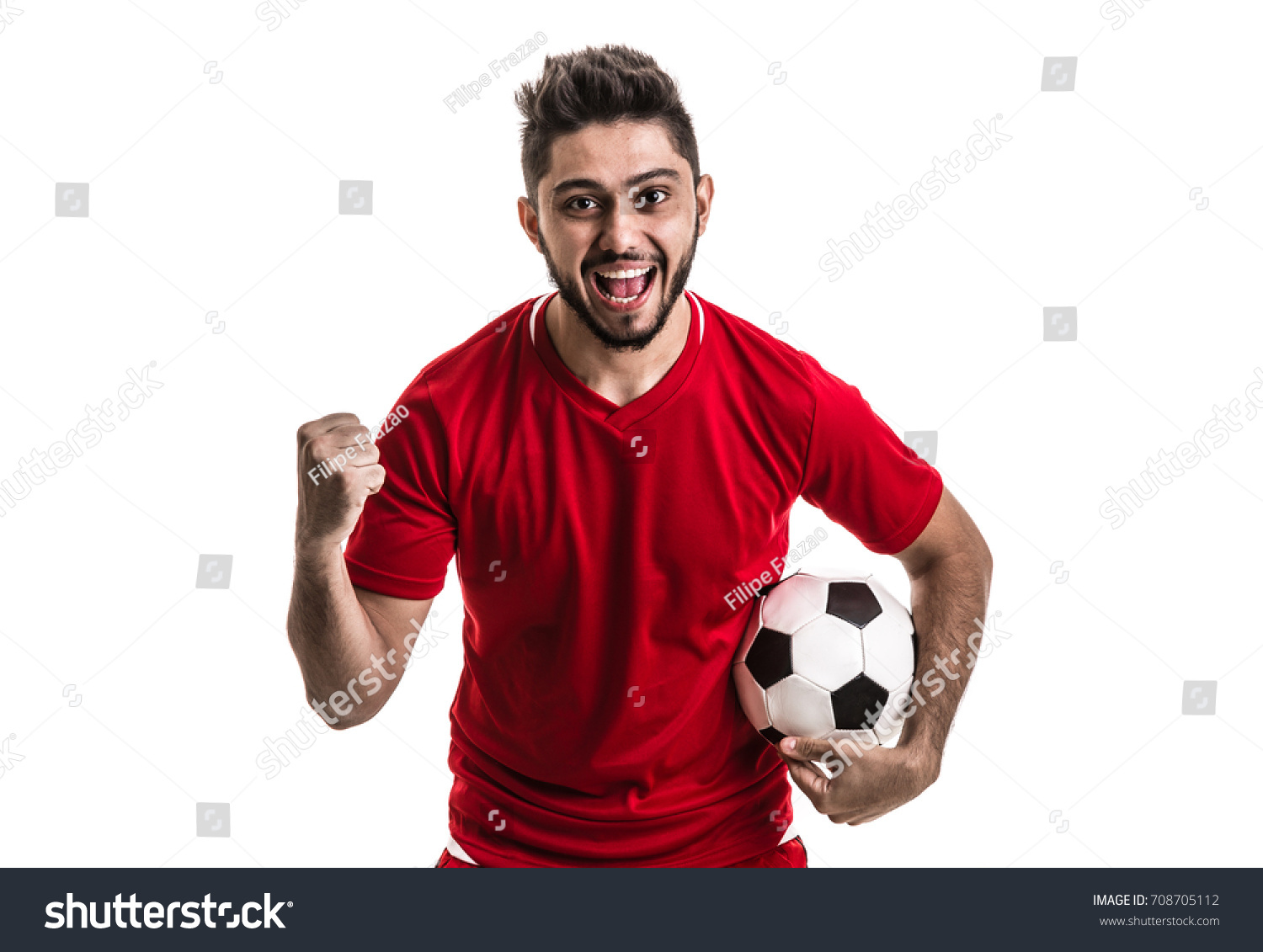 Fan / Sport Player on red uniform celebrating on white background #708705112 - 123PhotoFree.com