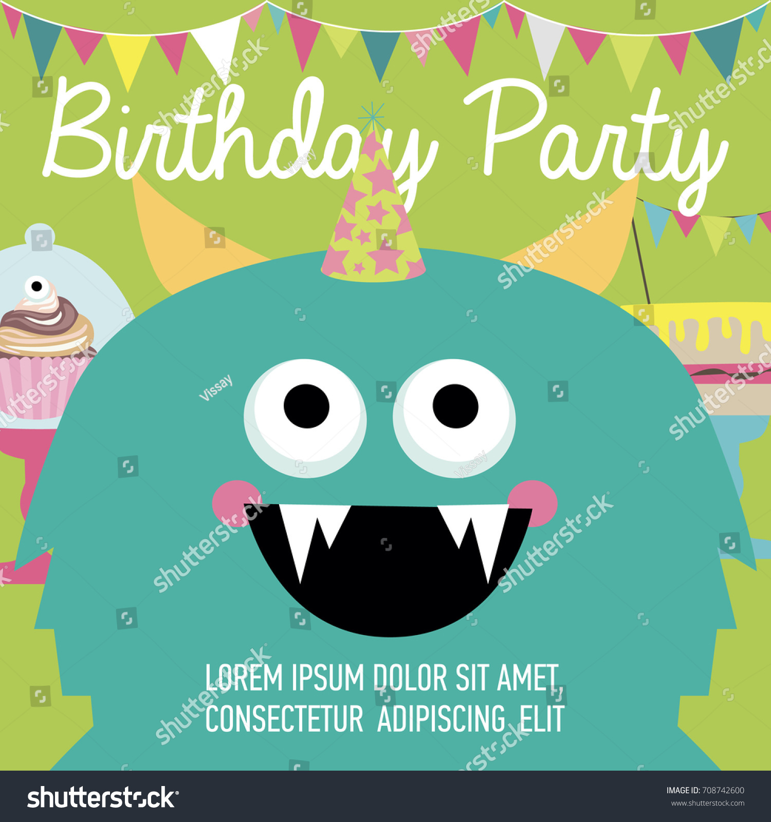 monster birthday party invitation card vector stock vector royalty