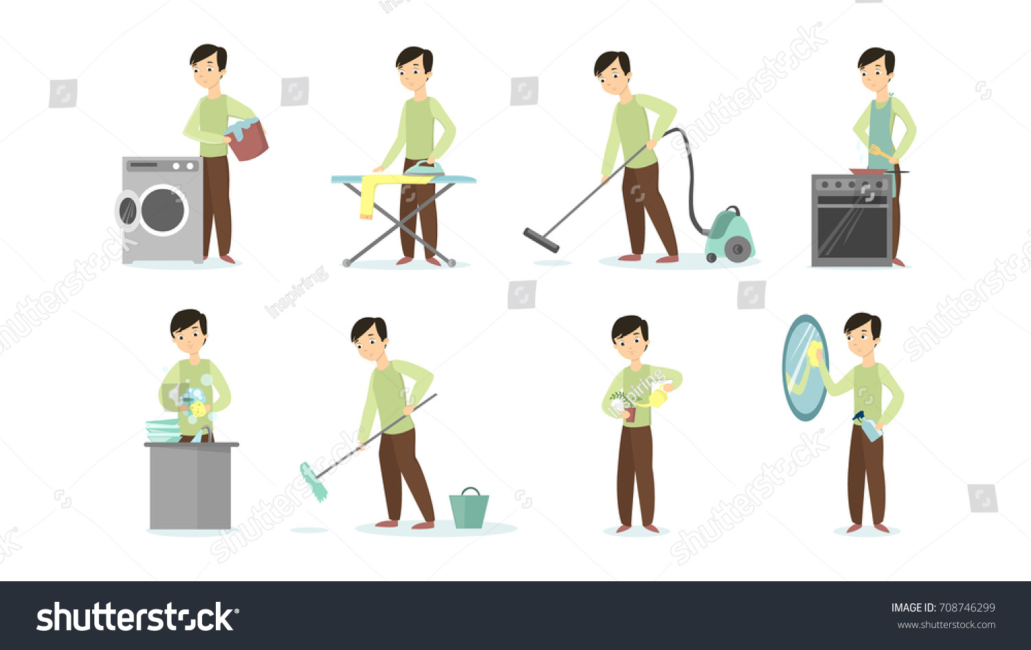 man doing household chores on white background cleaning and ironing cooking and vacuum cleaning