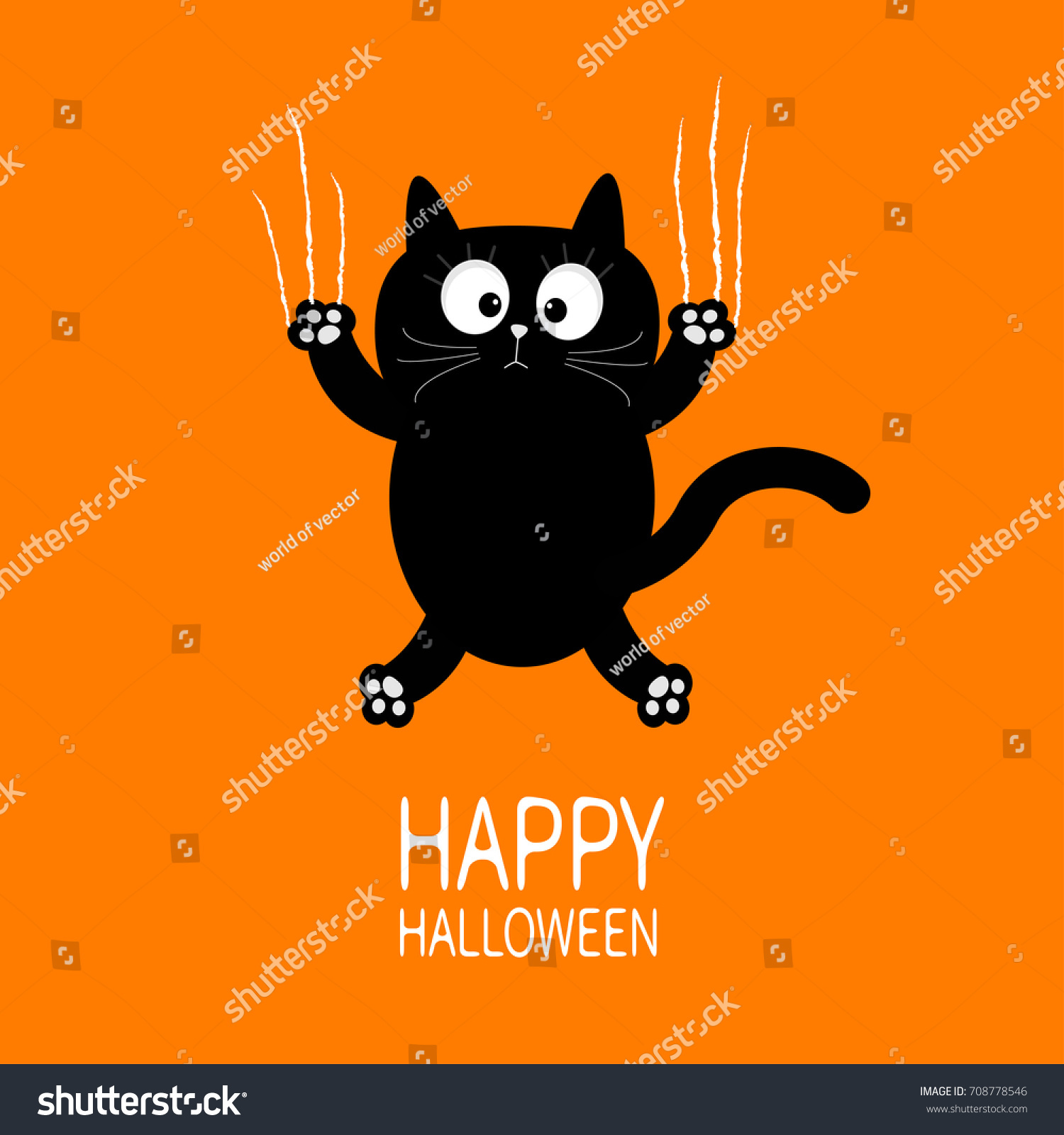Happy Halloween Black Cat Claw Scratch Stock Illustration