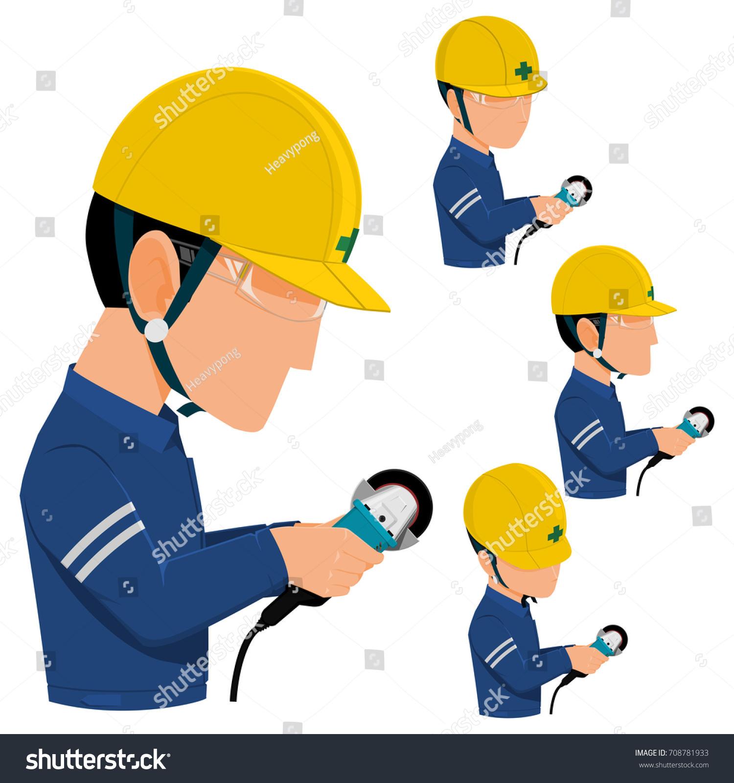 set worker using grinder on transparent stock vector (royalty free
