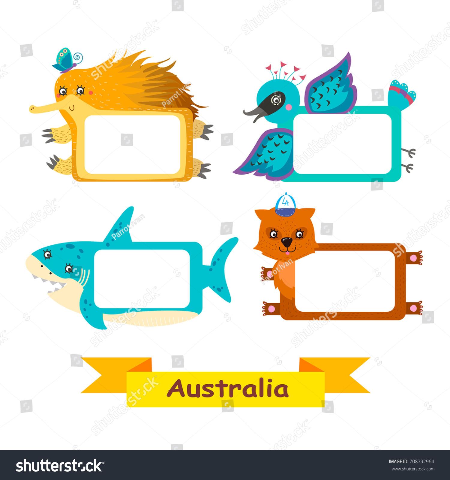 Cute Animal Set Exotic Australian Animal Stock Vector (2018 ...