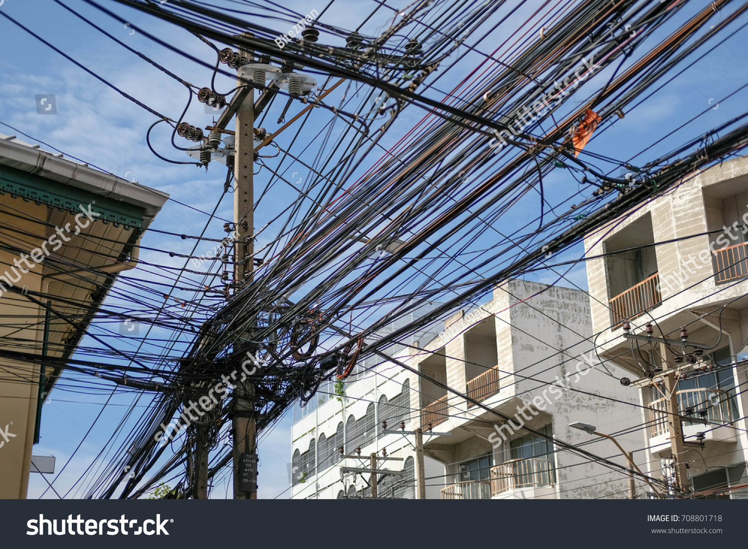 Pillar Lots Messy Electric Wires On Stock Photo Edit Now 708801718 Electrical Wiring With Of The Sky And Building Background At Thailand