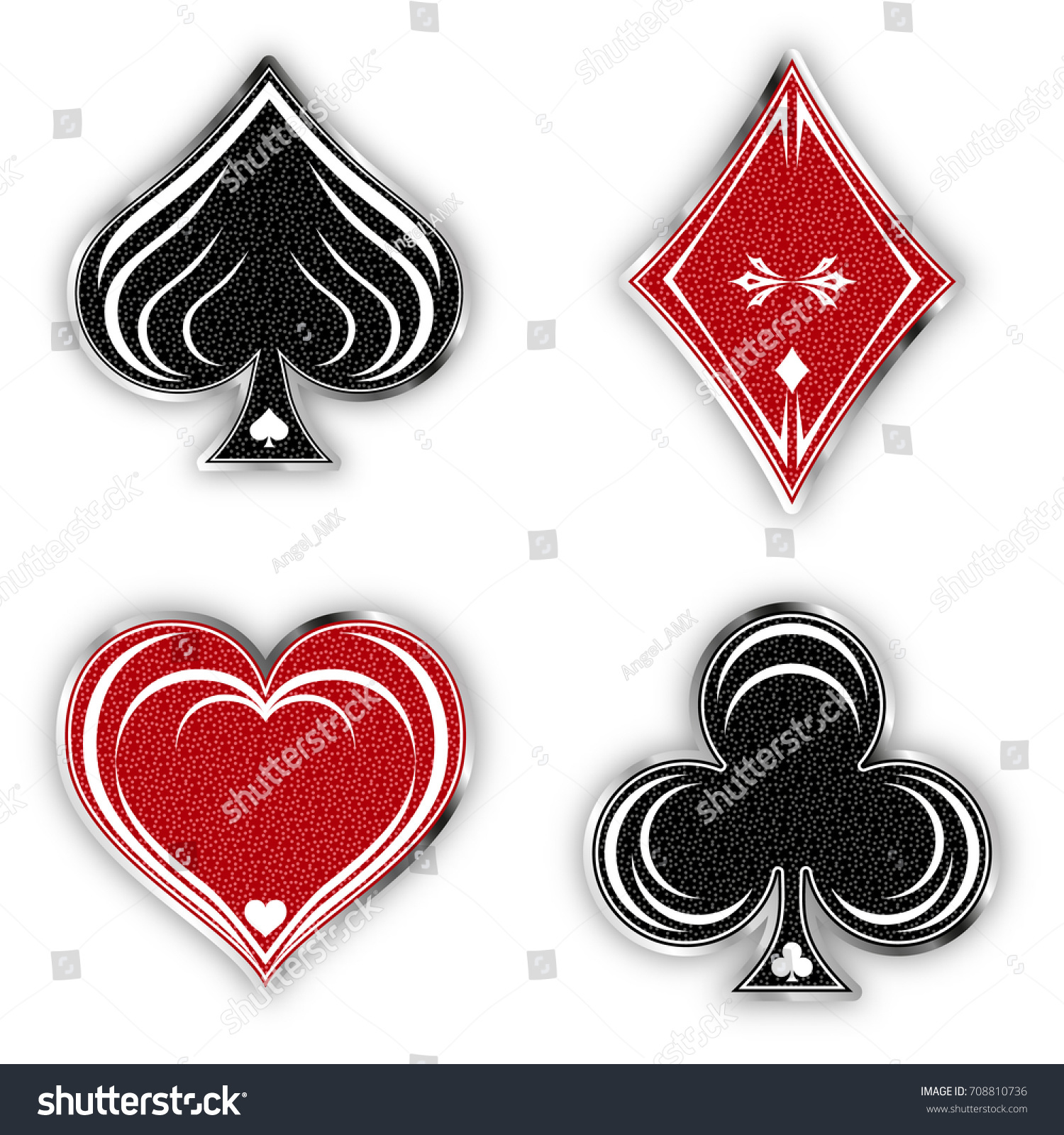 Set Symbols Deck Cards Playing Poker Stock Vector Royalty Free