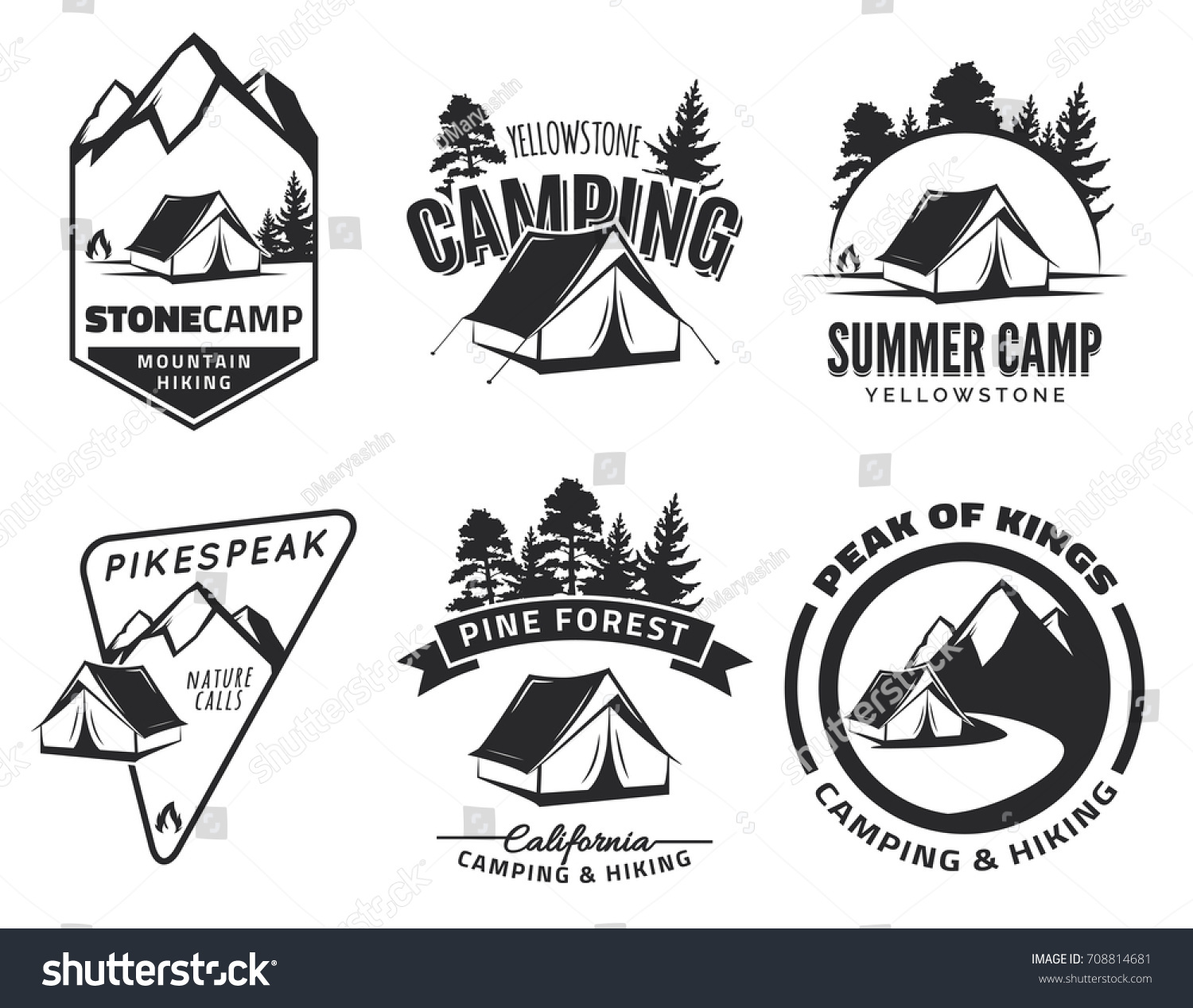 Set Of Vintage Camping And Outdoor Adventure Emblems Logos Badges Tent In Forest