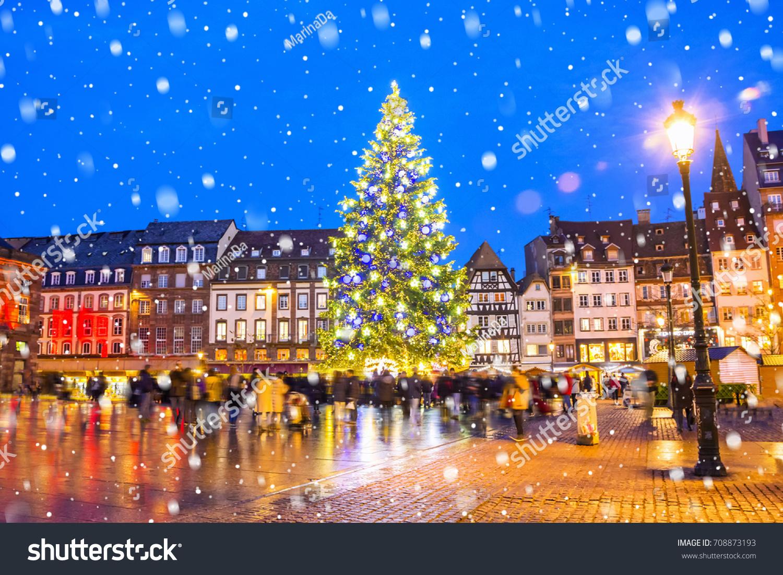 Christmas Tree Xmas Market Kleber Square Stock Photo 708873193  - Medieval Christmas Tree
