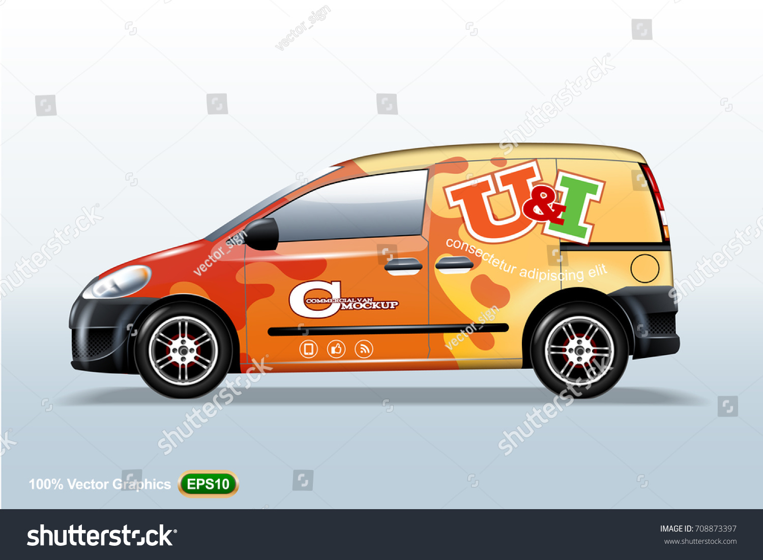 Commercial Vehiclevan Template Advertising Editable Layout