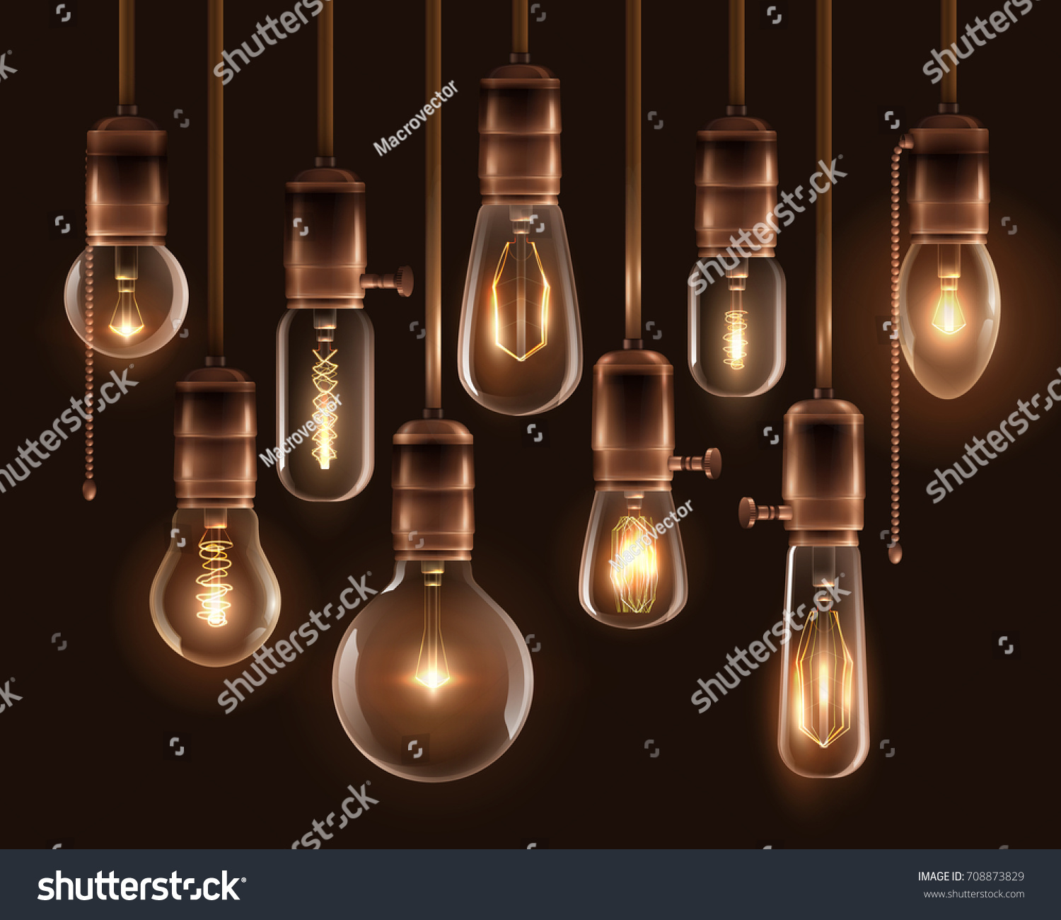 Realistic Vintage Glowing Light Bulbs Icon Stock Vector