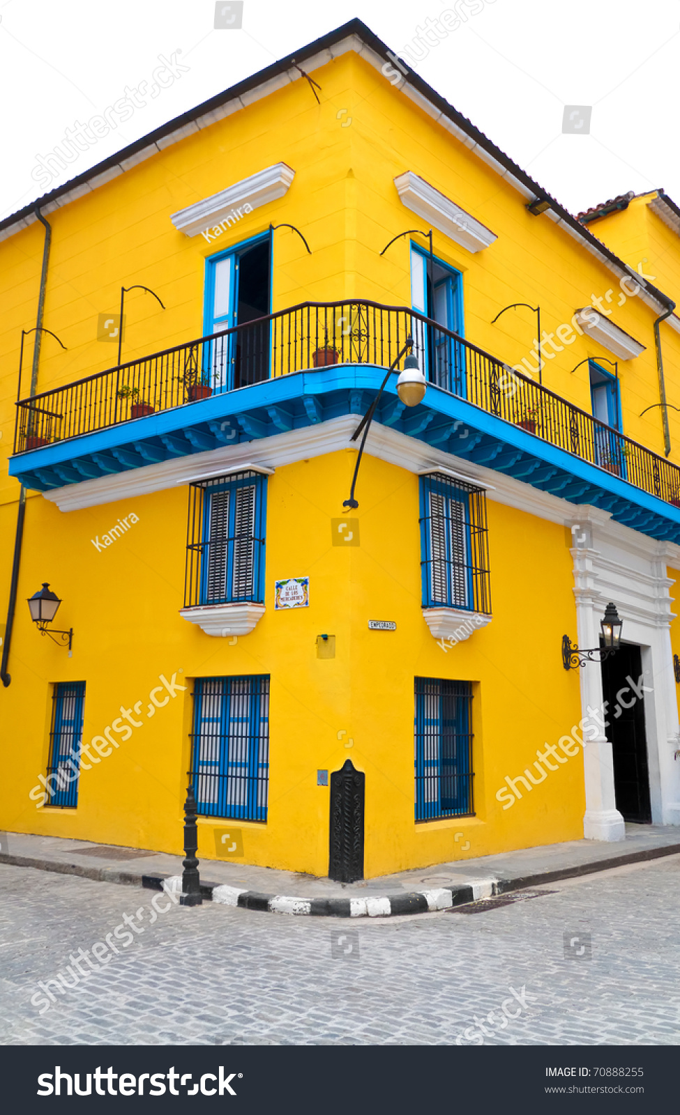 Typical Bright Yellow House Blue Doors Stock Photo Edit Now 70888255