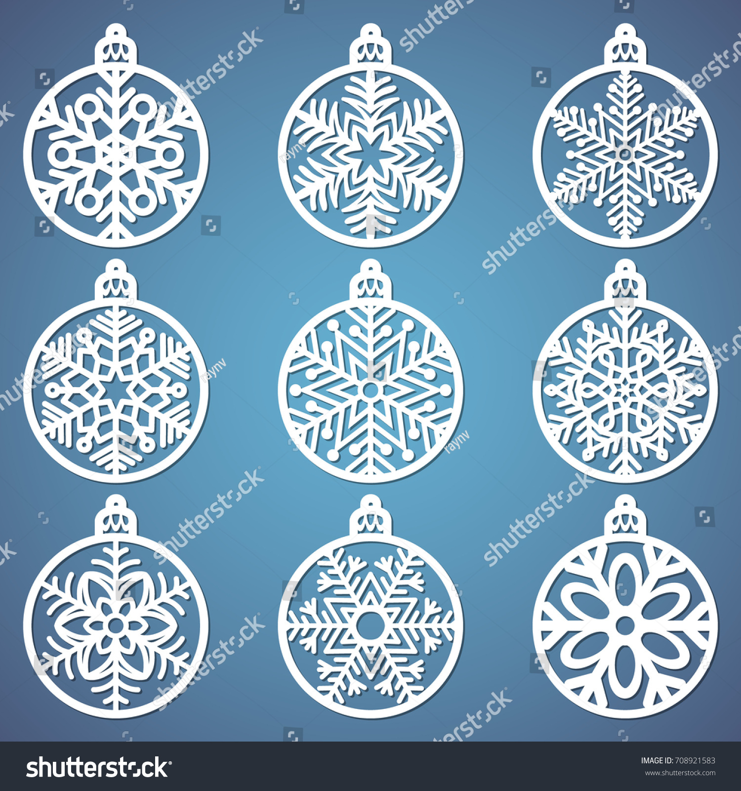 christmas balls set snowflake cut out stock vector 708921583