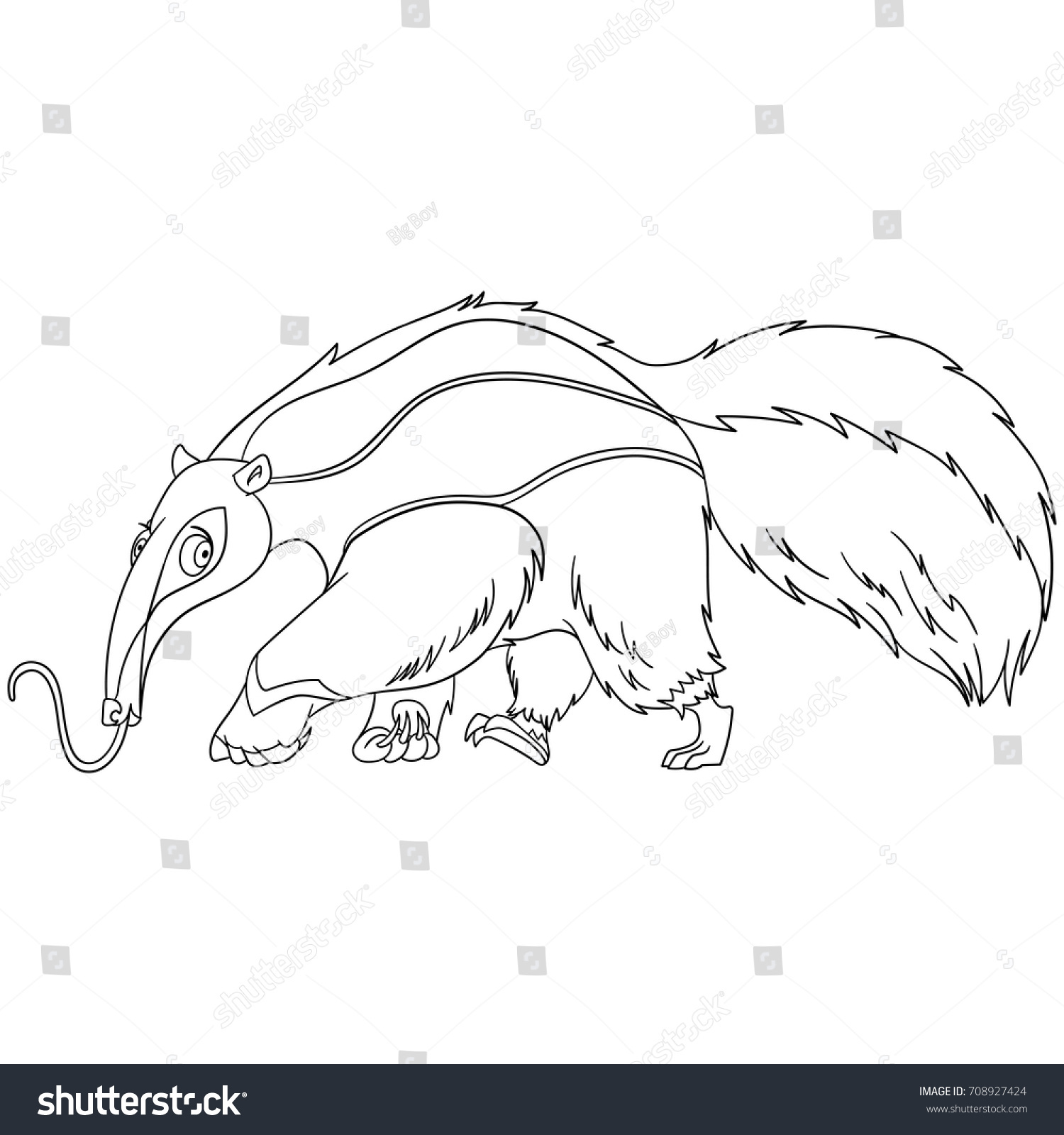 Coloring Page Cartoon Anteater Animal Coloring Stock Vector