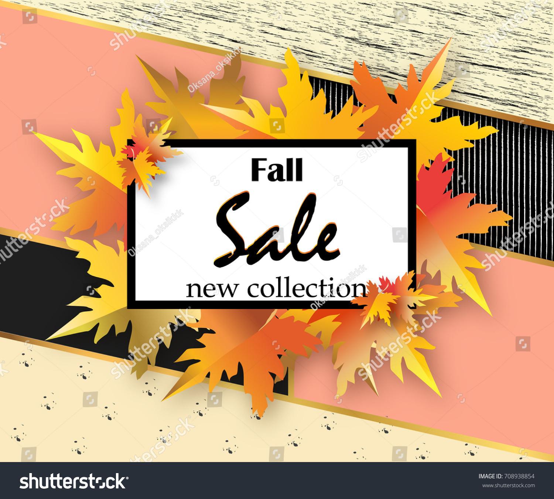 Autumn Sale Flyer Template Lettering Orange Stock Vector Royalty