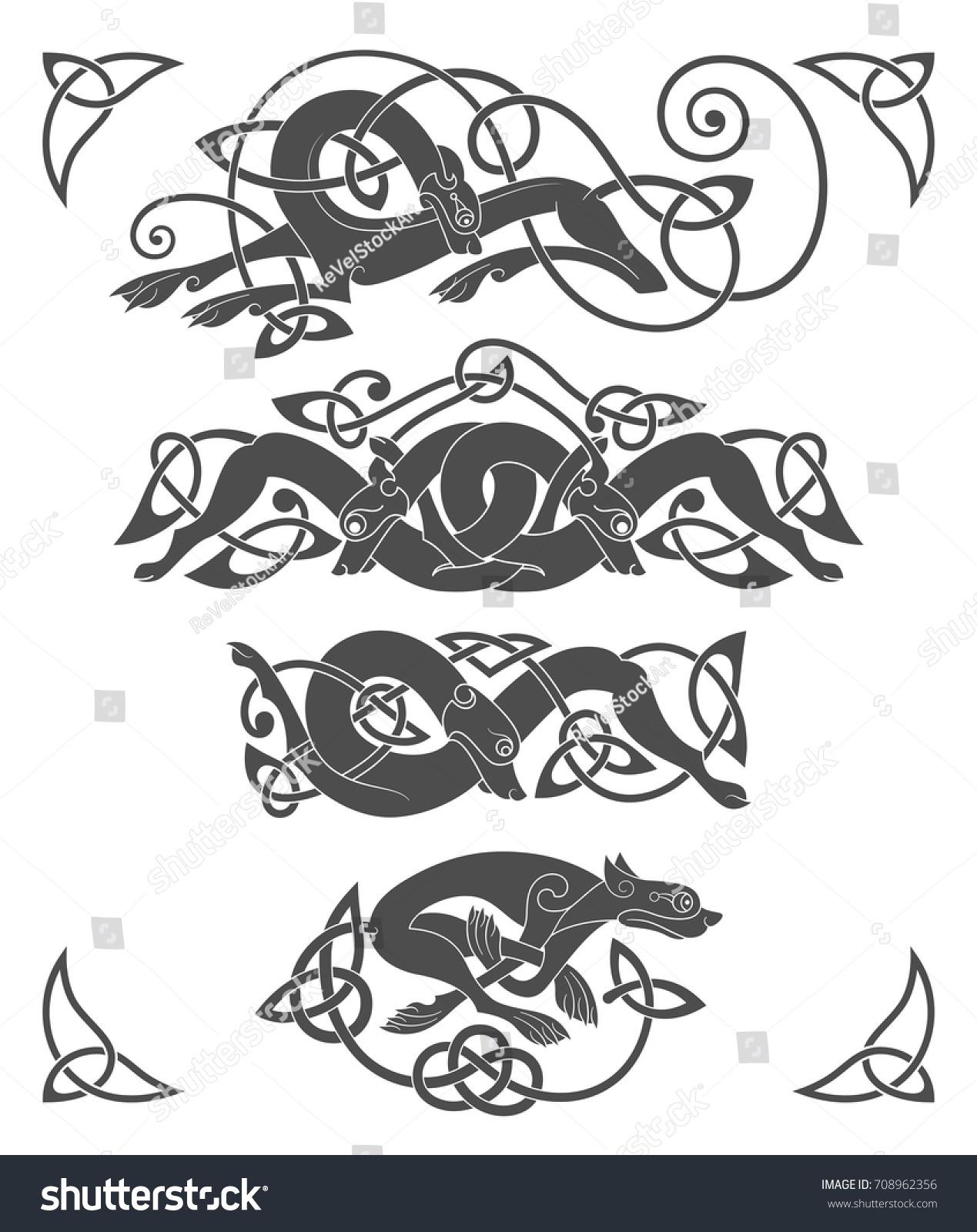 Ancient Celtic Mythological Symbol Wolf Dog Stock Vector (Royalty ...