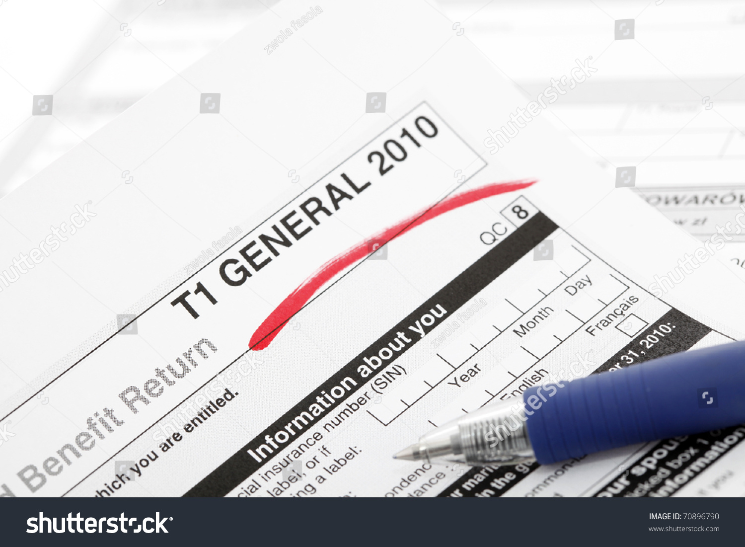 Tax Form In Canada Stock Photo 70896790 : Shutterstock