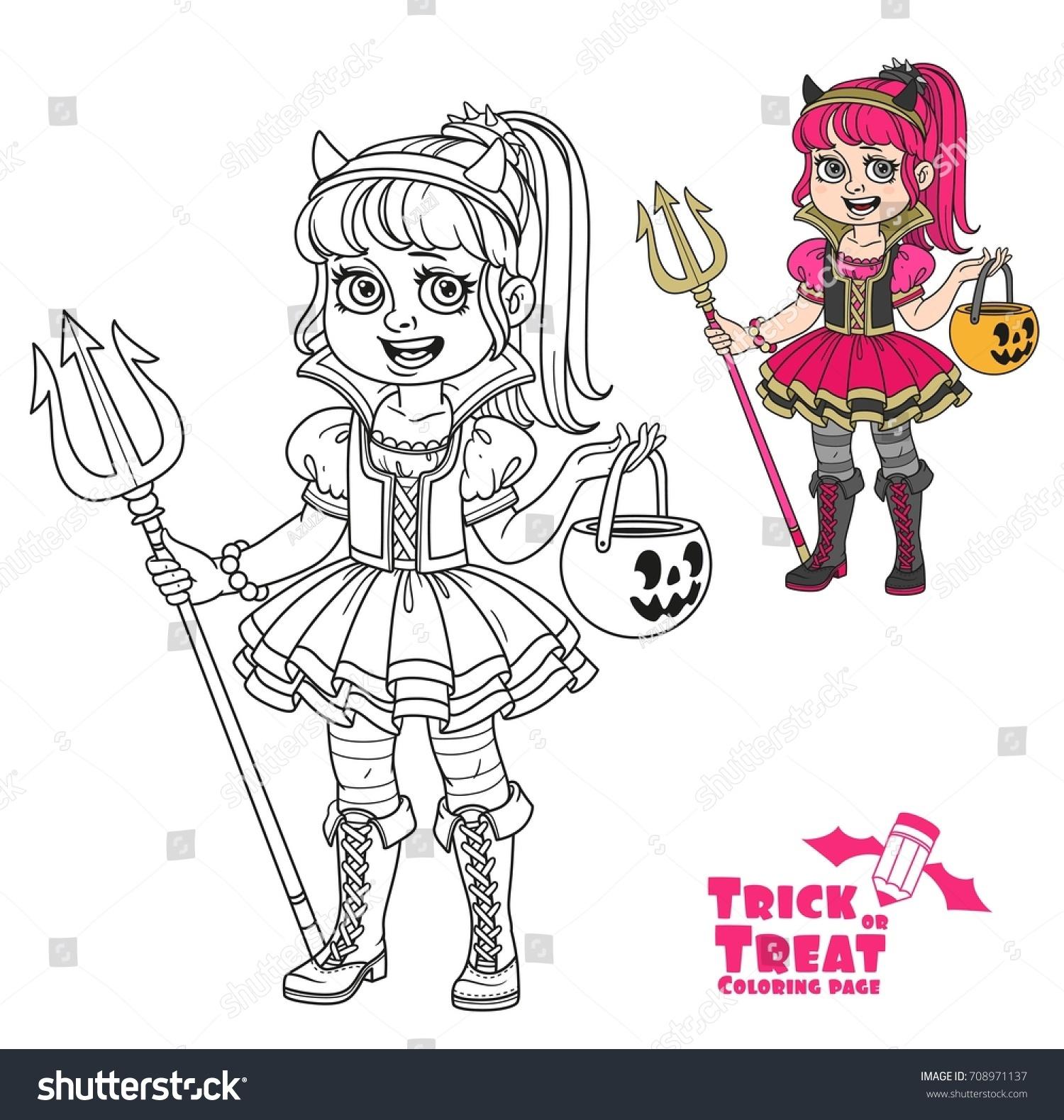 Cute Girl Succubus Costume Pumpkin Bag Stock Vector HD (Royalty Free ...