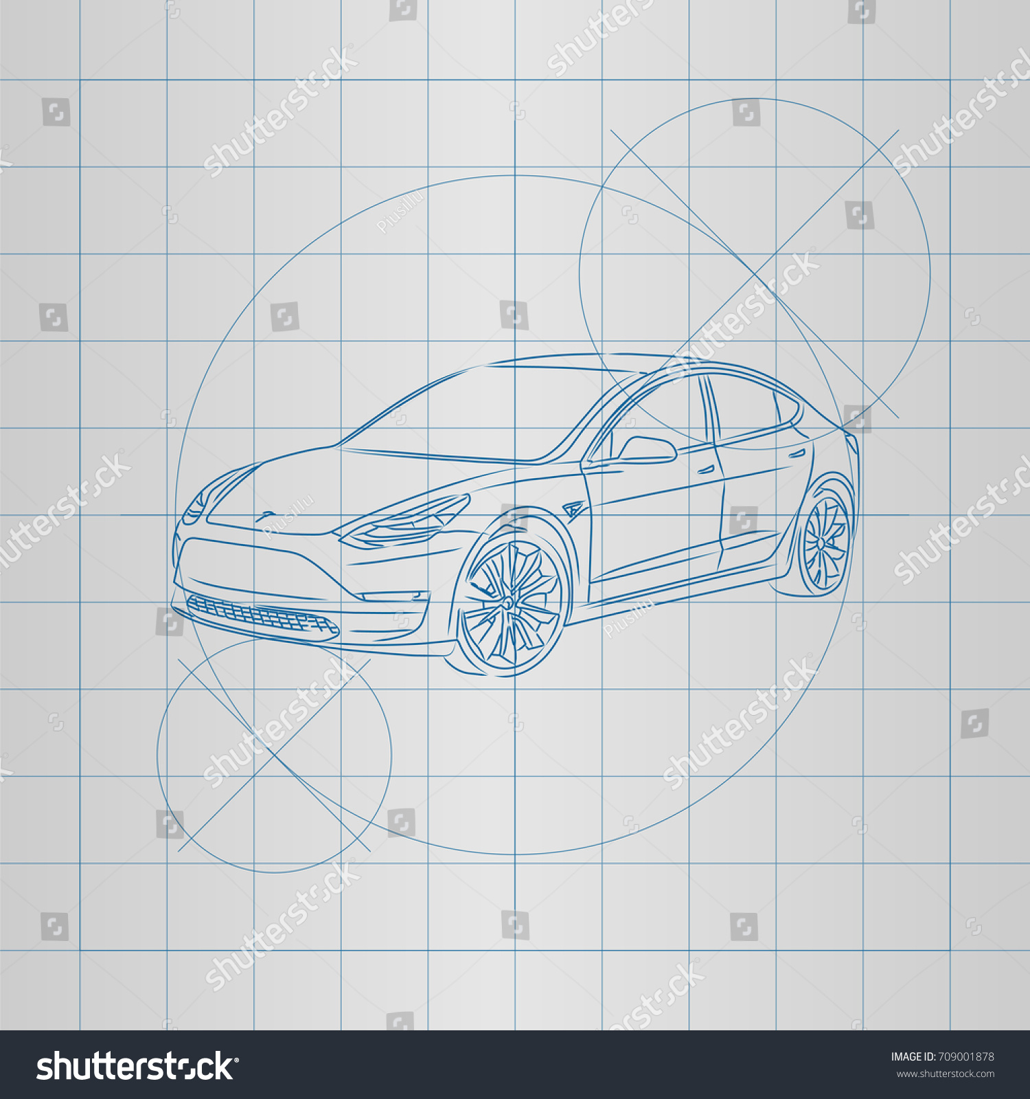 Design electric car drawing on blueprint stock photo photo vector the design of a electric car drawing on a blueprint vector illustration malvernweather Images