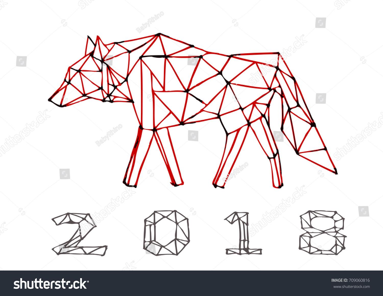 Wolf Polygon Art Hand Draw Vector Stock Vector (Royalty Free ...