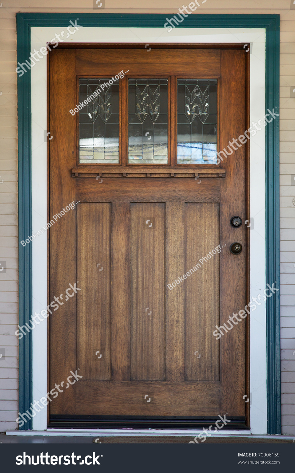 Craftsman Deco Style Window In Mission Style Stained Wood Door With Green  And White Trip