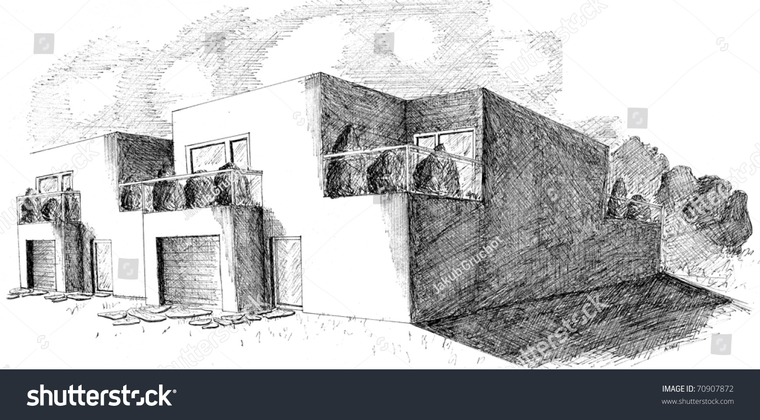 beautiful perspective panorama drawing terraced house stock photo beautiful perspective panorama drawing of terraced house made with black ink isolated on