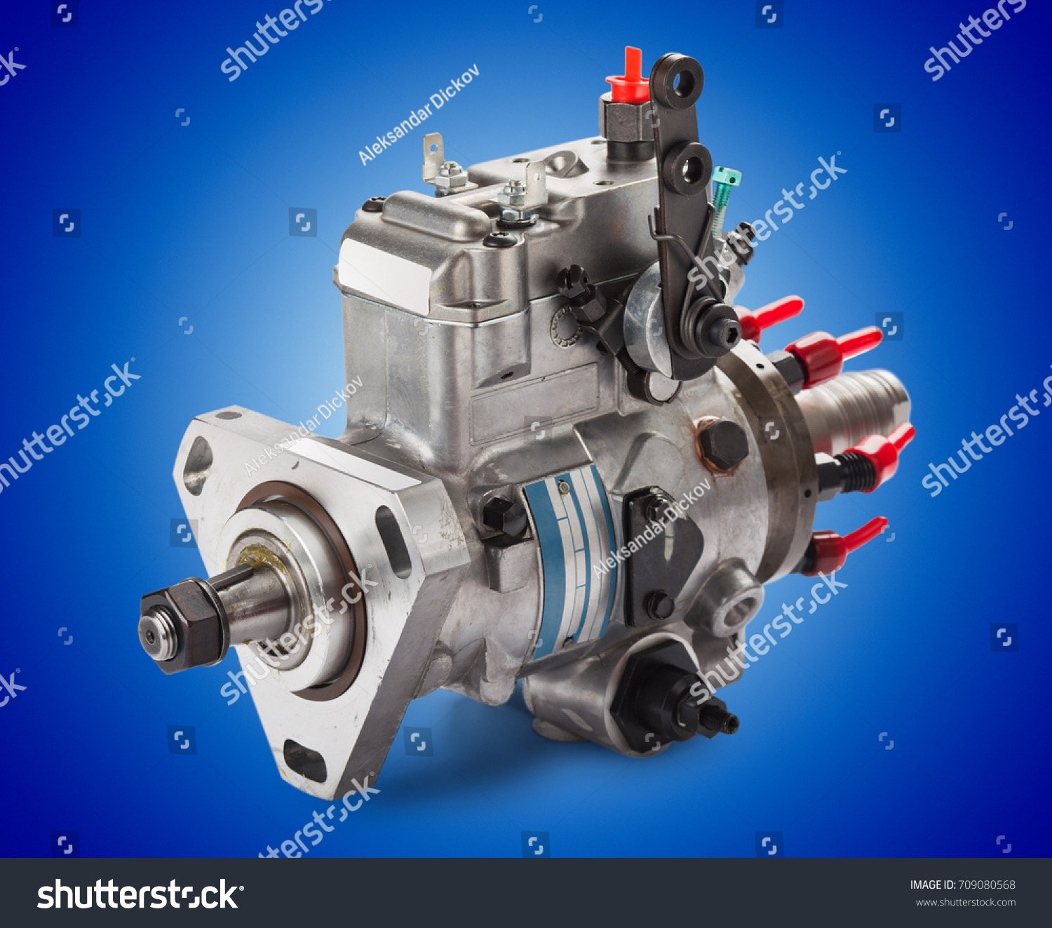 Diesel High Pressure Fuel Injection Pump Stock Photo Edit Now On Blue Background