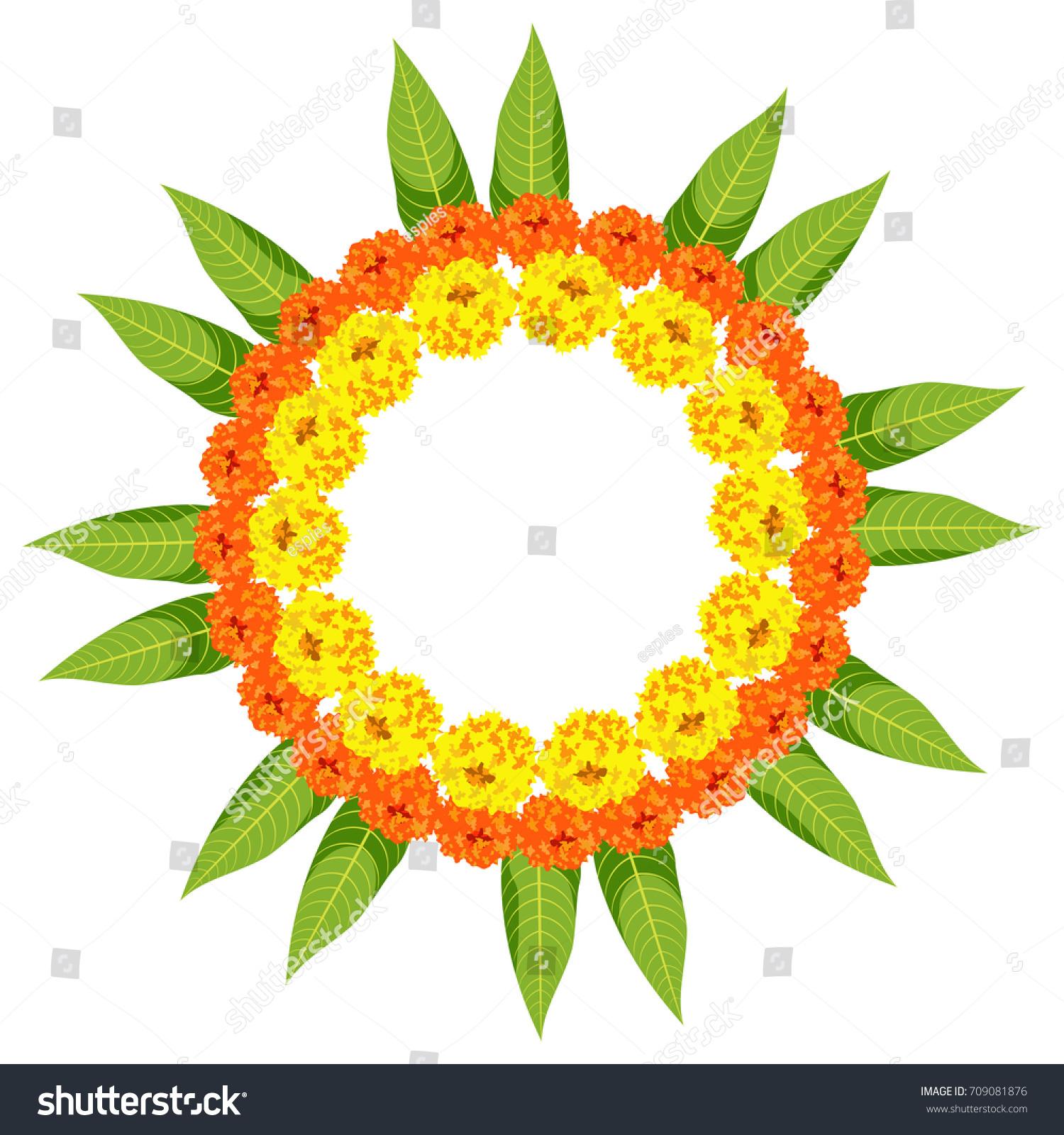 Vector Illustration Flower Rangoli Made Using Stock Vector 709081876 ... for Flower Rangoli Vector  174mzq